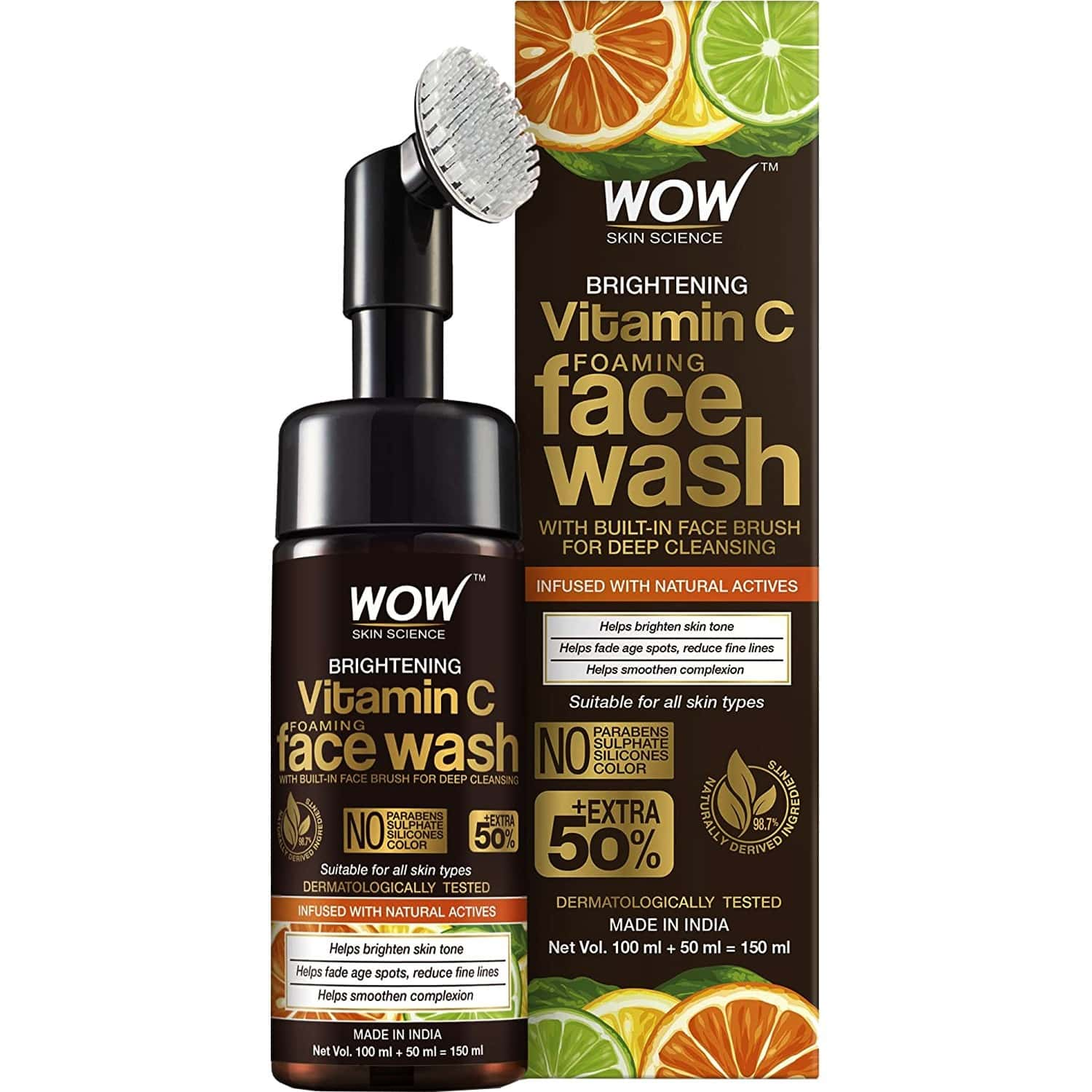 Wow Skin Science Brightening Vitamin C Foaming Face Wash (with Brush) - 150 Ml