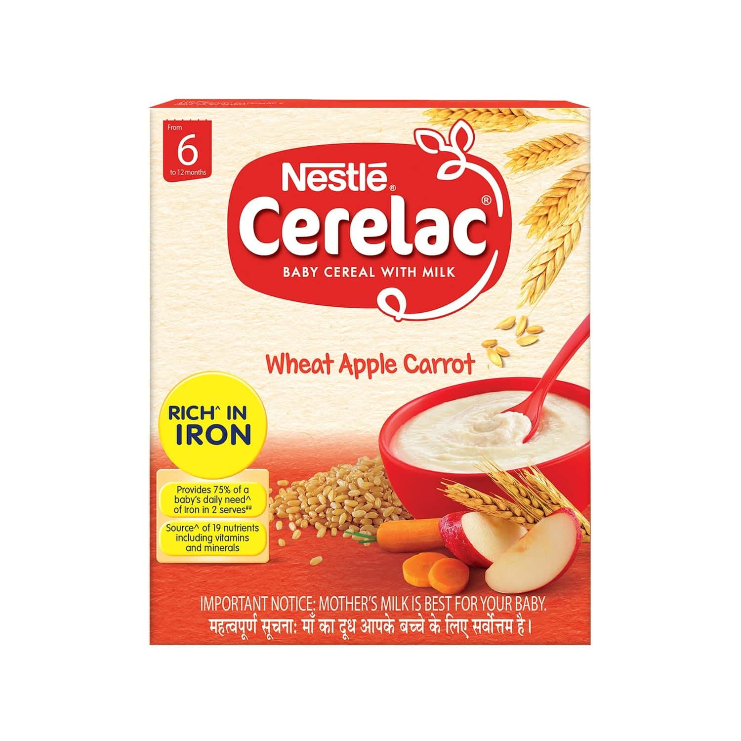 Nestle Cerelac Baby Cereal With Milk Wheat Apple Carrot (from 6 Months) 300g Bag-in-box