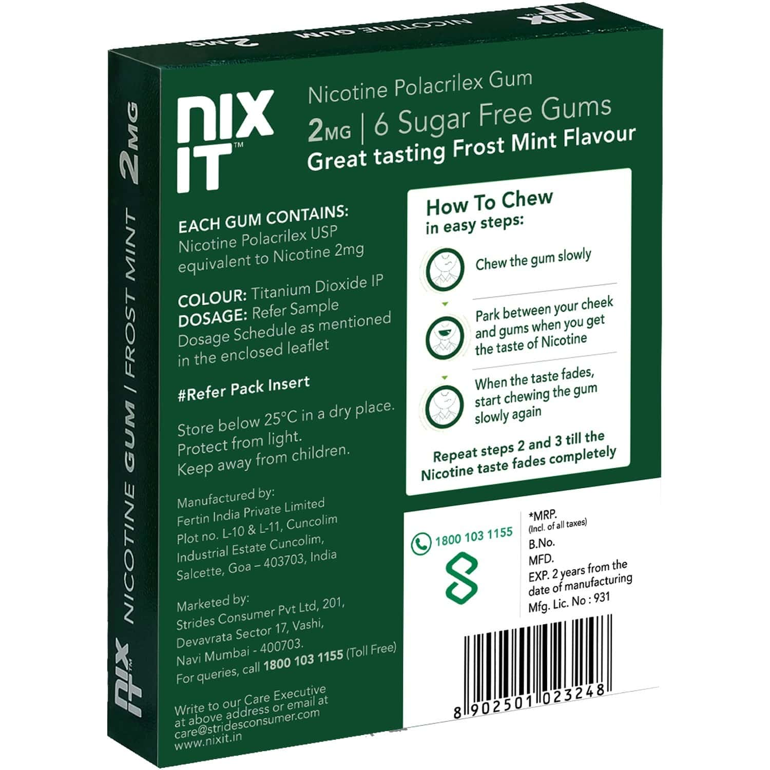 Nixit Nicotine Frost Mint Gums 2mg, Sugar-free, Bigger Size (pack Of 56) - Helps Quit Smoking