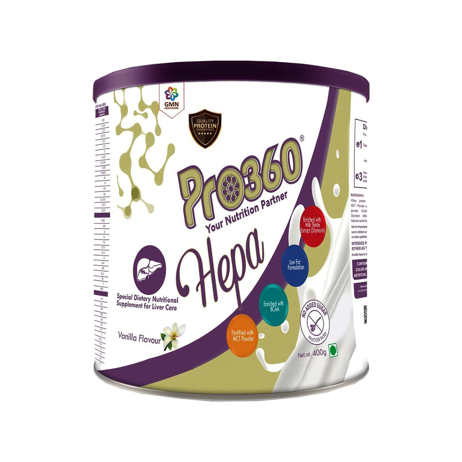 Pro360 Hepa Nutritional Supplement Powder For Liver Care - Vanilla Flavour - 400gm