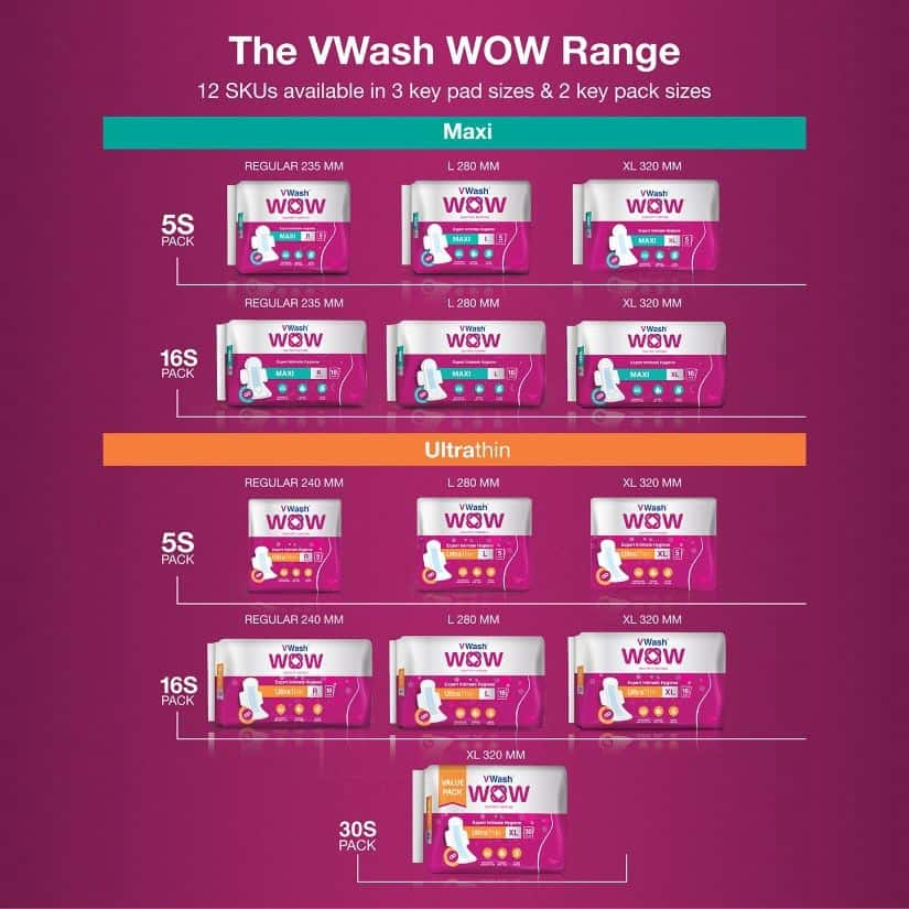 Vwash Wow Maxi Size R Sanitary Pads Pack Of 30 (packs Of 6x5)