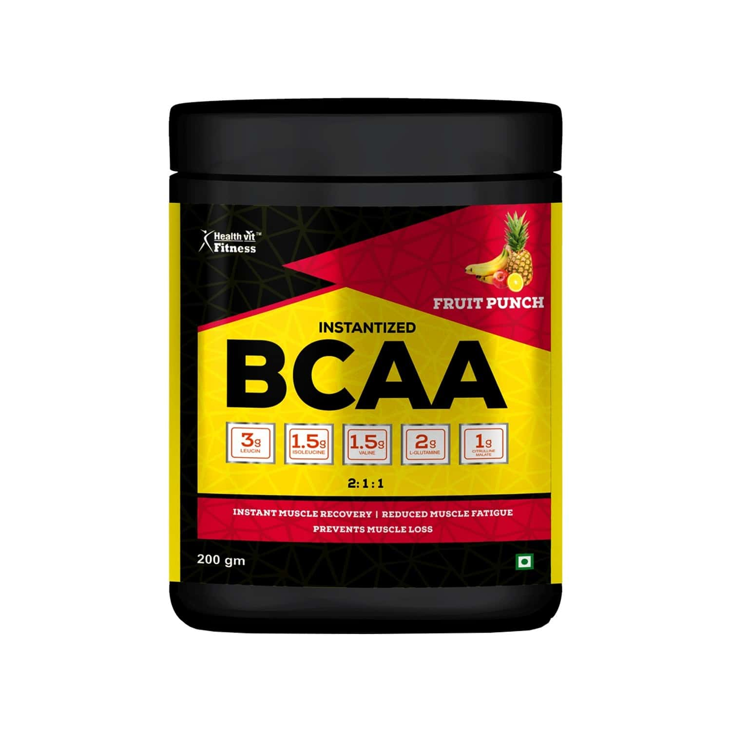 Healthvit Fitness Bcaa 6000mg 2:1:1 With L-glutamine & L - Citrulline Malate - Fruit Punch Flavour - 200gm