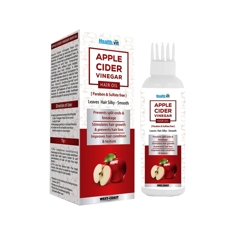 Healthvit Apple Cider Vinegar Hair Oil Paraben & Sulfate Free For Leaves Hair Silky & Smooth -100ml