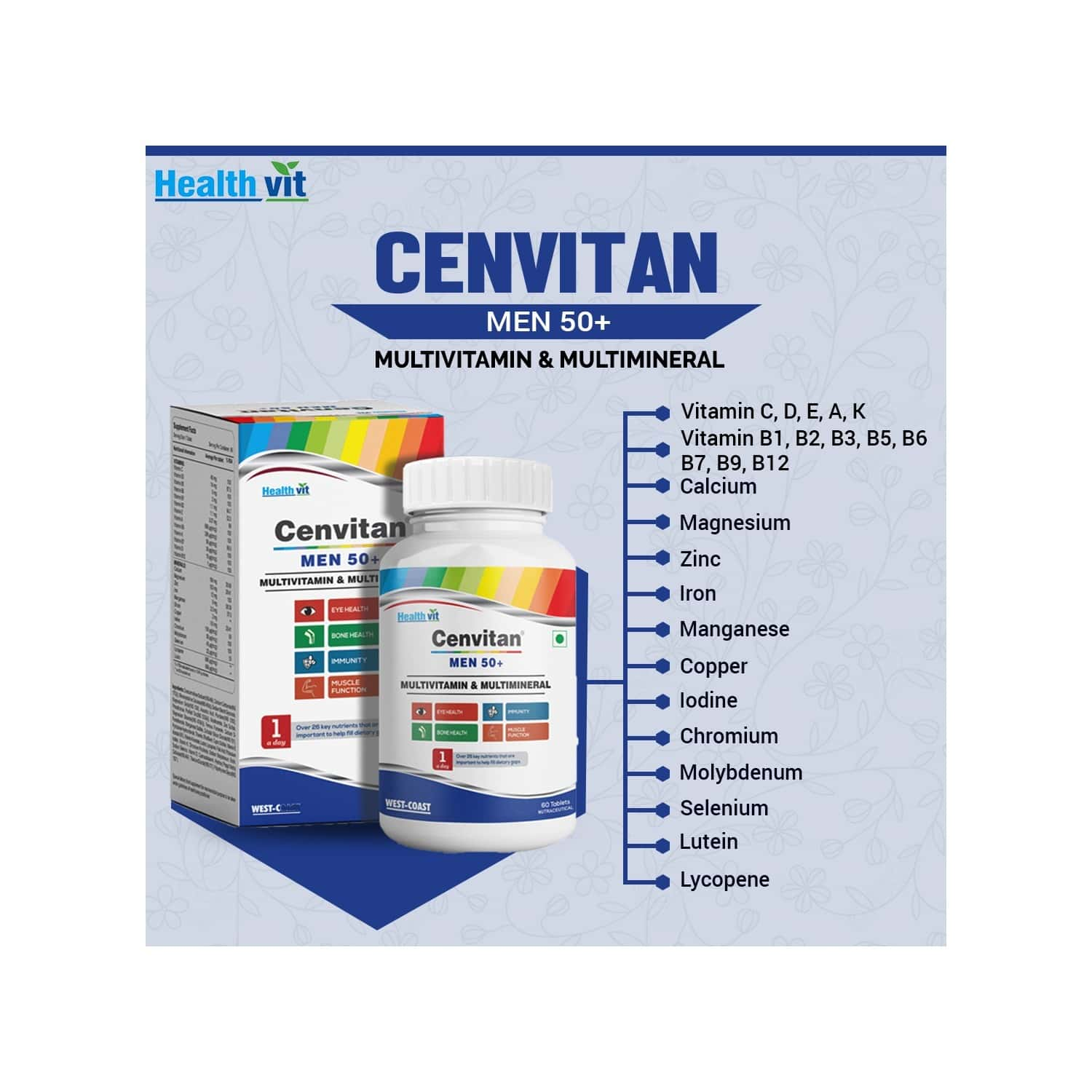 Healthvit Cenvitan Men 50+ Multivitamins And Multimineral For Eye Health, Immunity, Bone Health And Muscle Function - 60 Tablets