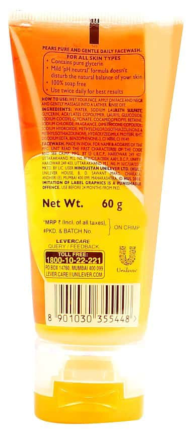 Pears Pure & Gentle  Face Wash  Tube Of 60 G
