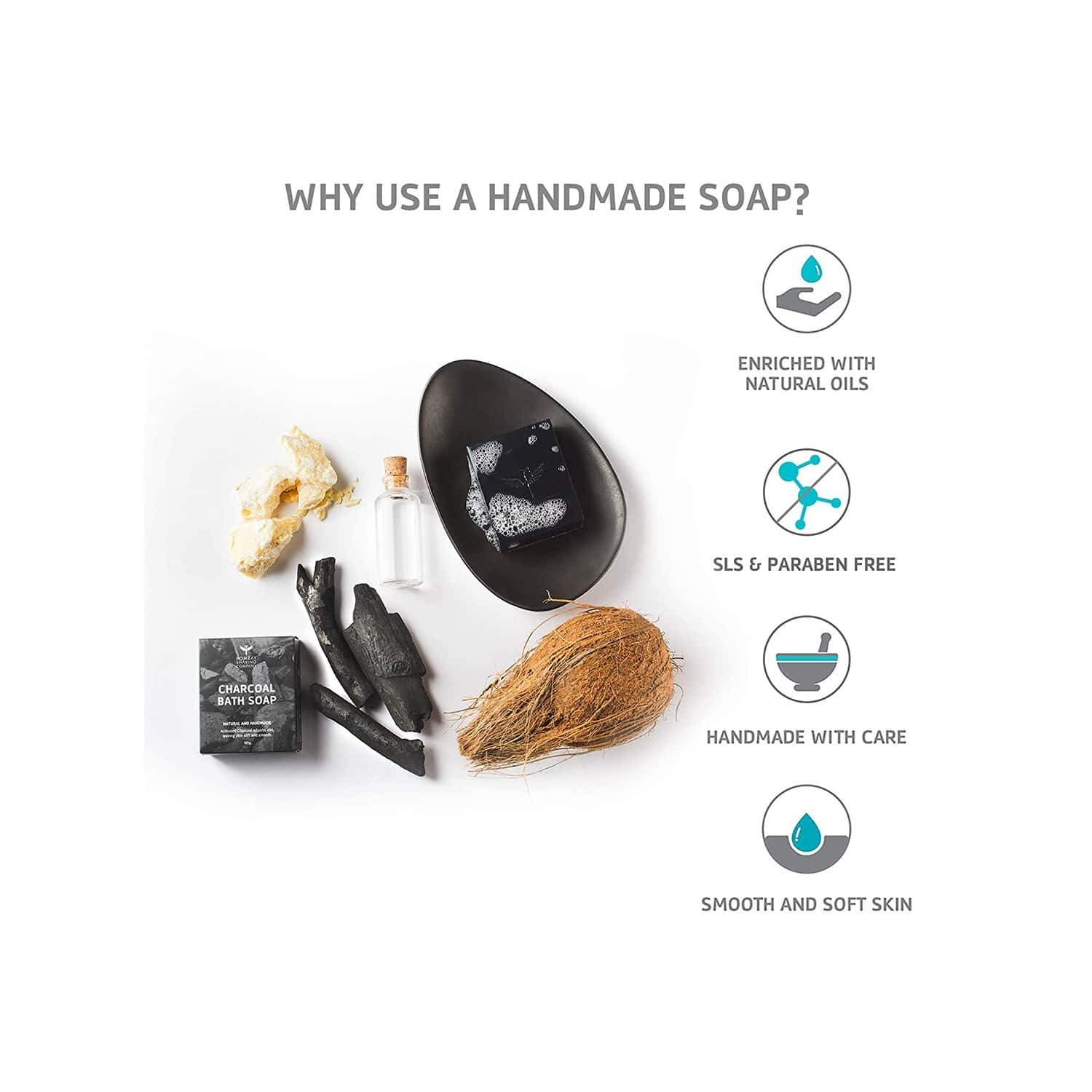 Bombay Shaving Company Deep Cleansing Charcoal Bath Soap For Removing Dirt And Impuritities With Anti-pollution Effect - 125 Gm