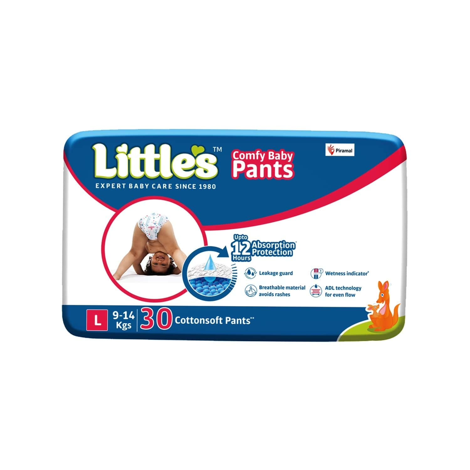Little's Comfy Baby Pants Diapers With Wetness Indicator And 12 Hours Absorption - Large 30 Pants