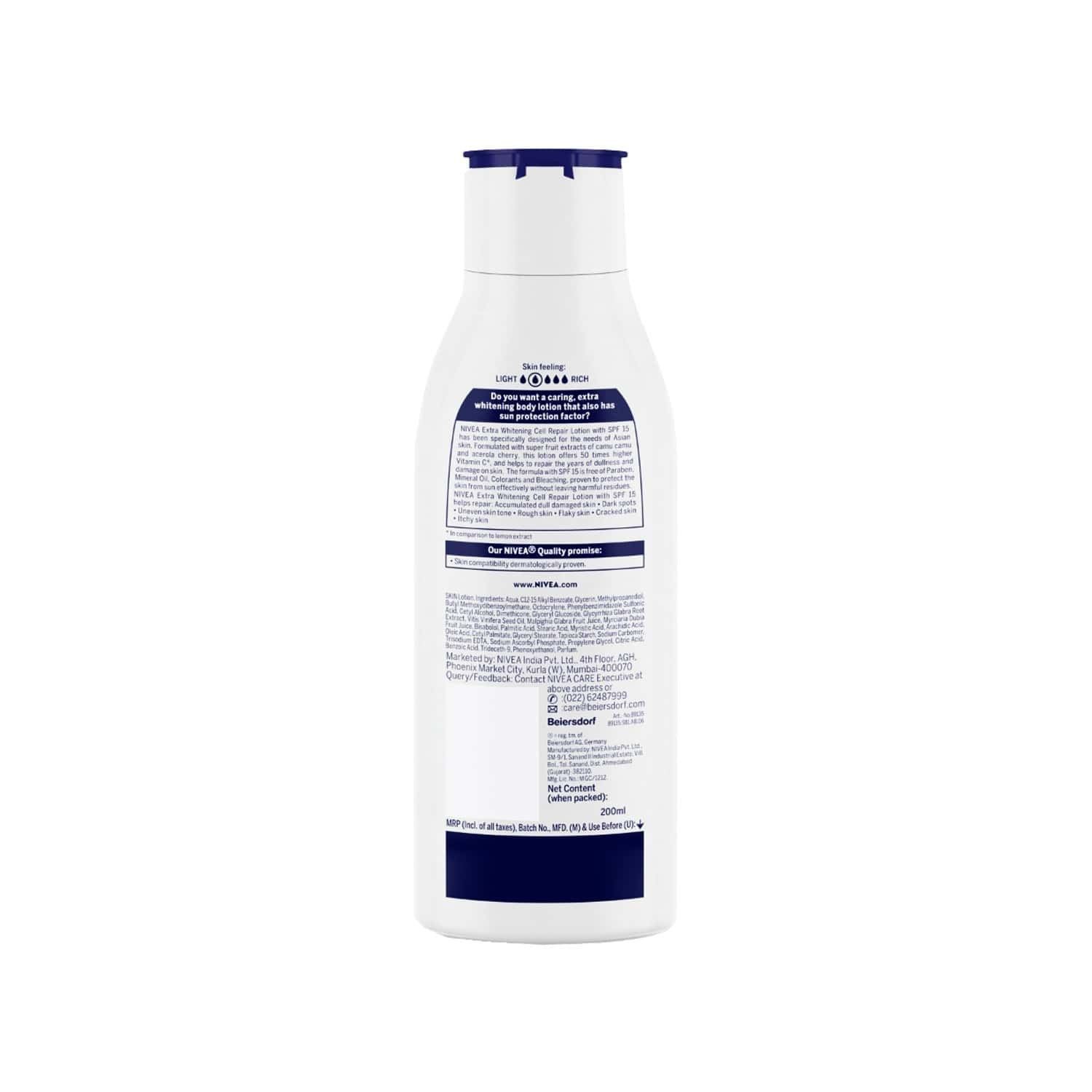 Nivea Extra Whitening Cell Repair Spf 15 Body Lotion - 200 Ml