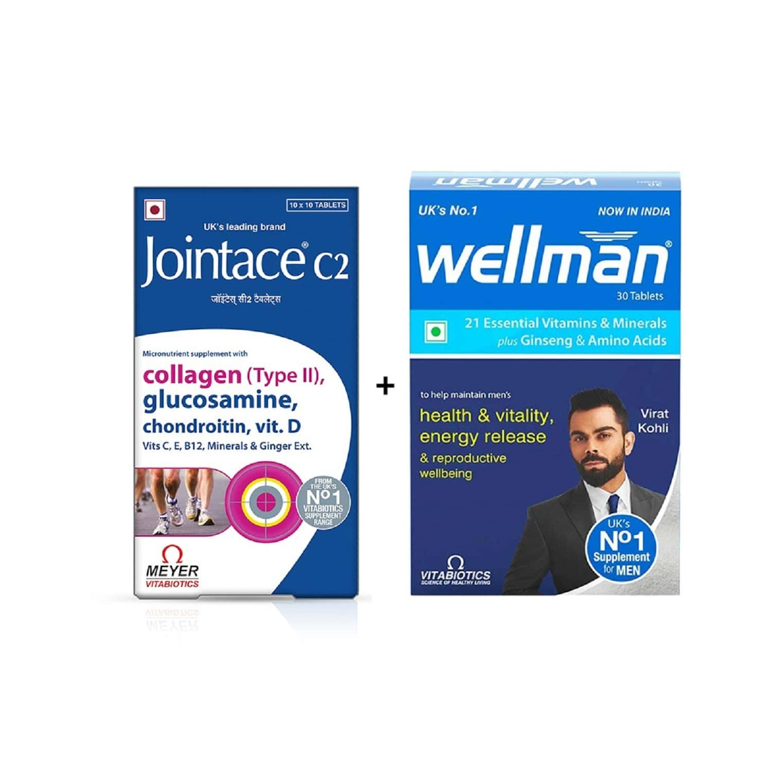 Jointace - Vitamin Supplement (includes Glucosamine, Chondroitin And Vitamin D) - 30 Tablets With Wellman 30 Tablet Free