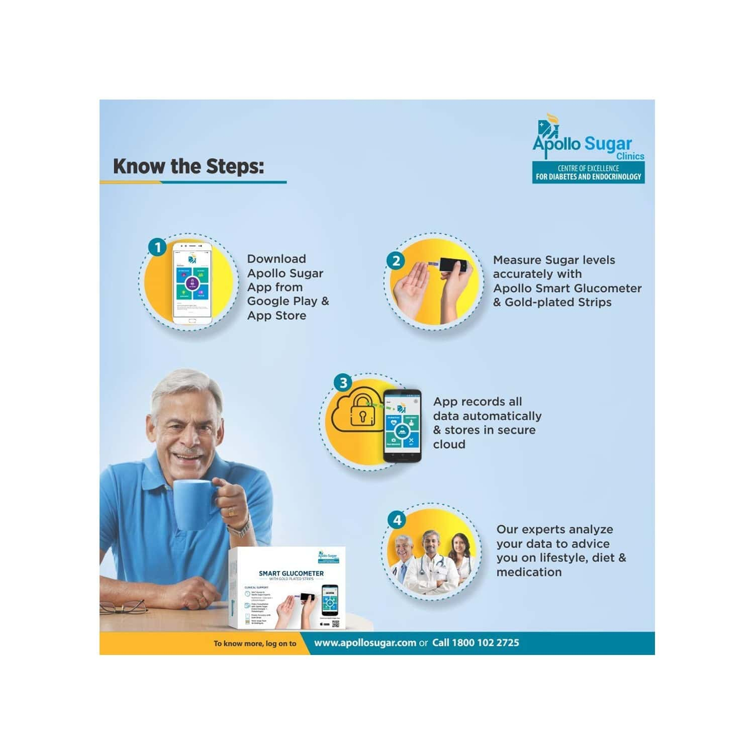 Apollo Sugar Gold Plated  Glucometer Test Strips  Box Of 200