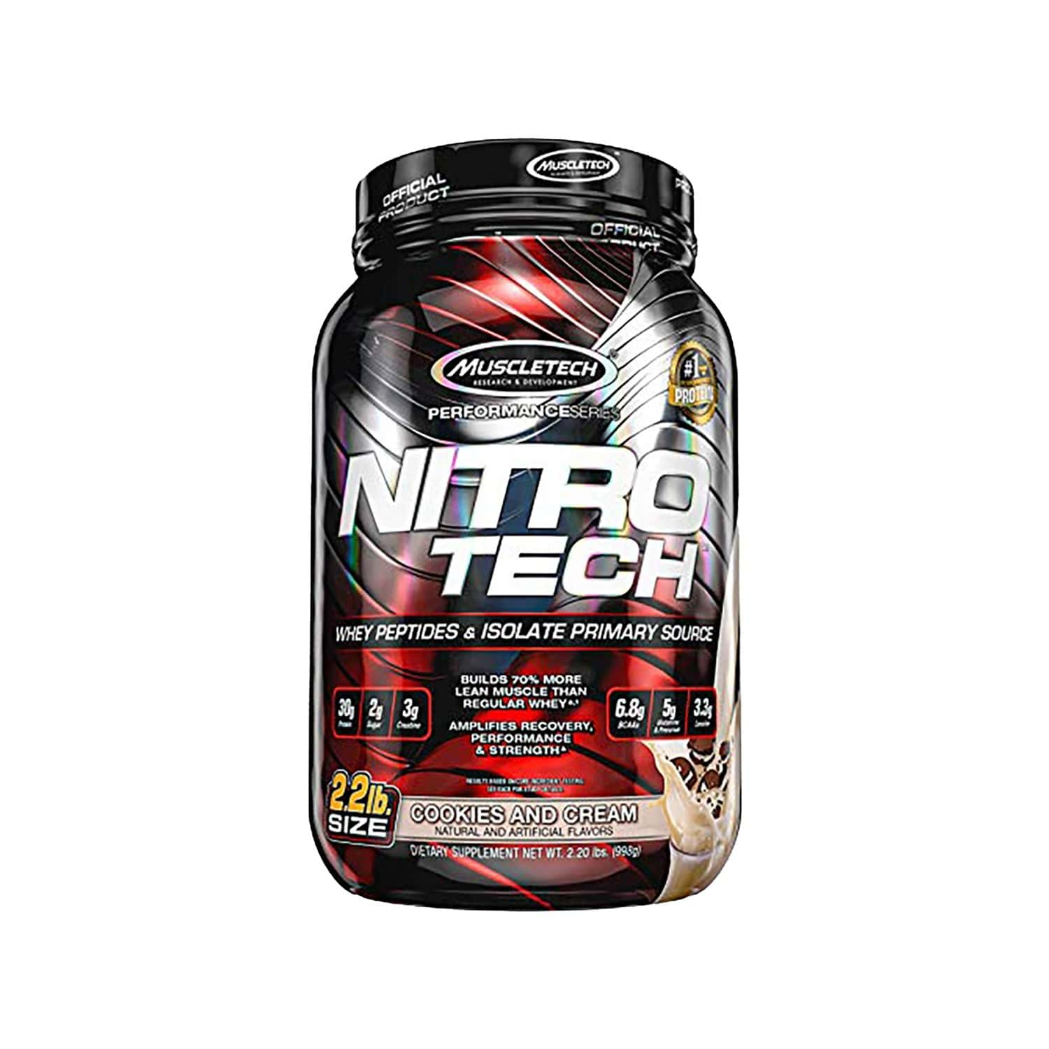 Muscletech Cookies And Cream Performance Series Nitrotech Whey Protein Peptides & Isolate - 907 Gm
