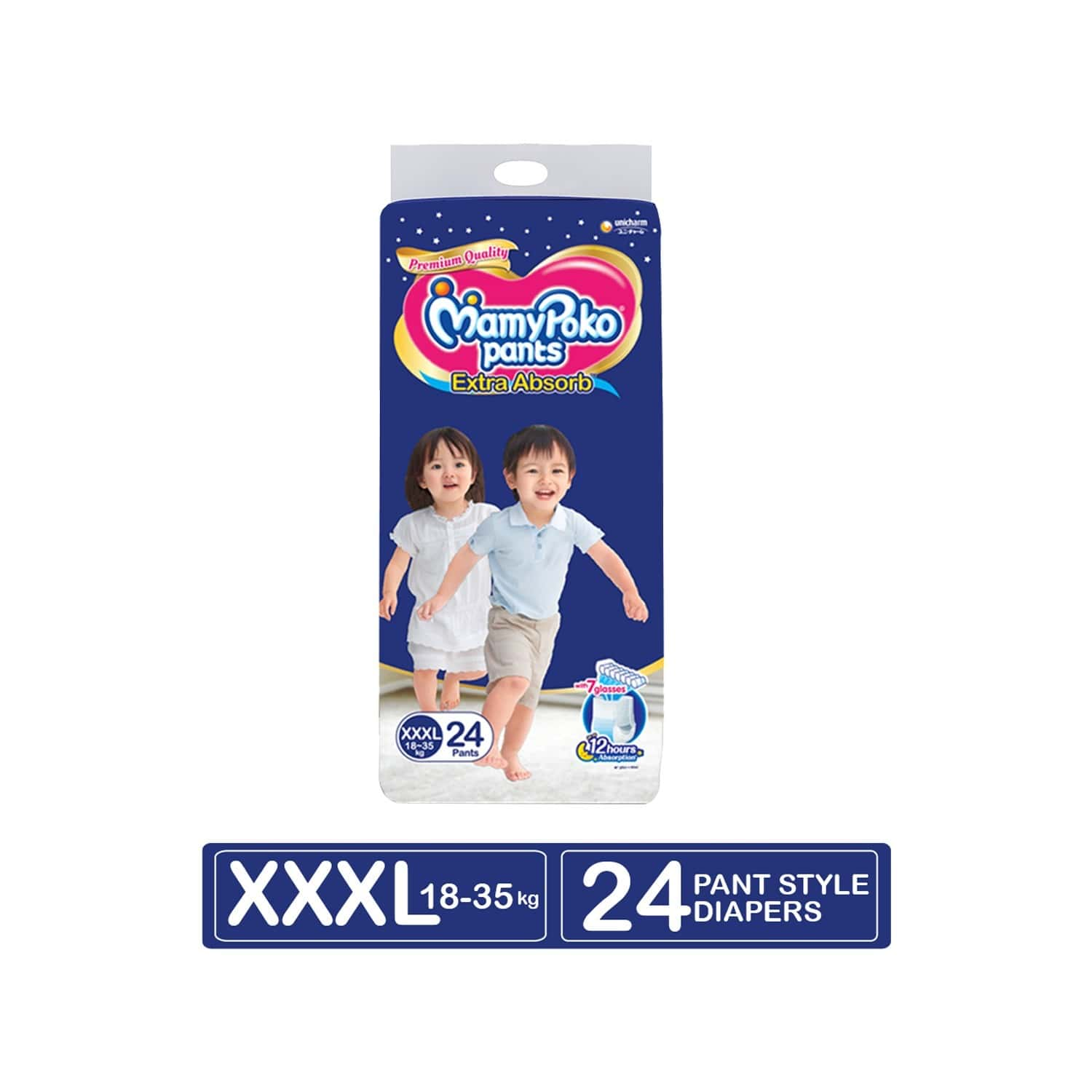 Mamypoko Pants Extra Absorb Diaper - Xxxl Size, Pack Of 24 Diapers