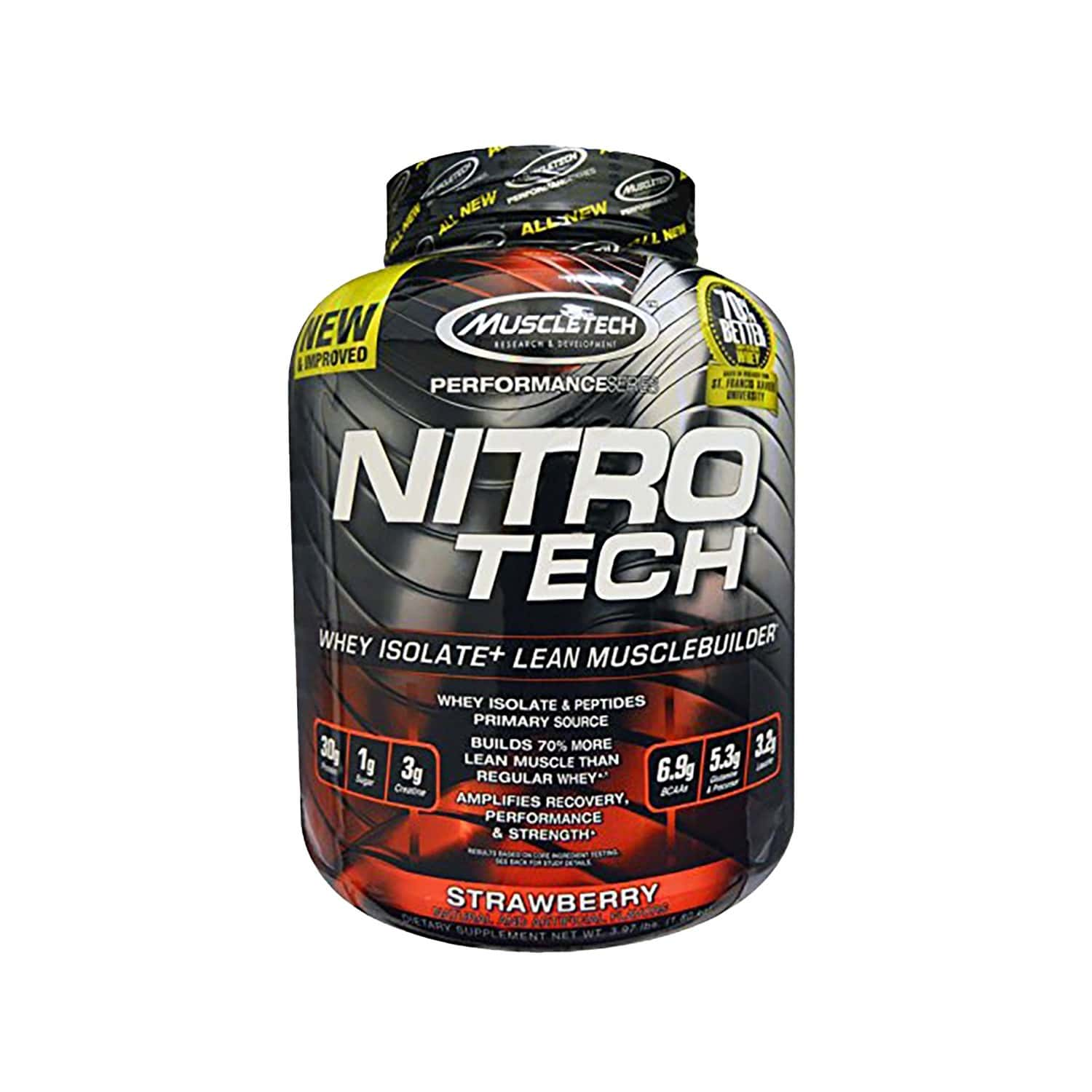 Muscletech Strawberry Nitro Tech Whey Isolate + Lean Muscle - 1800 Gm