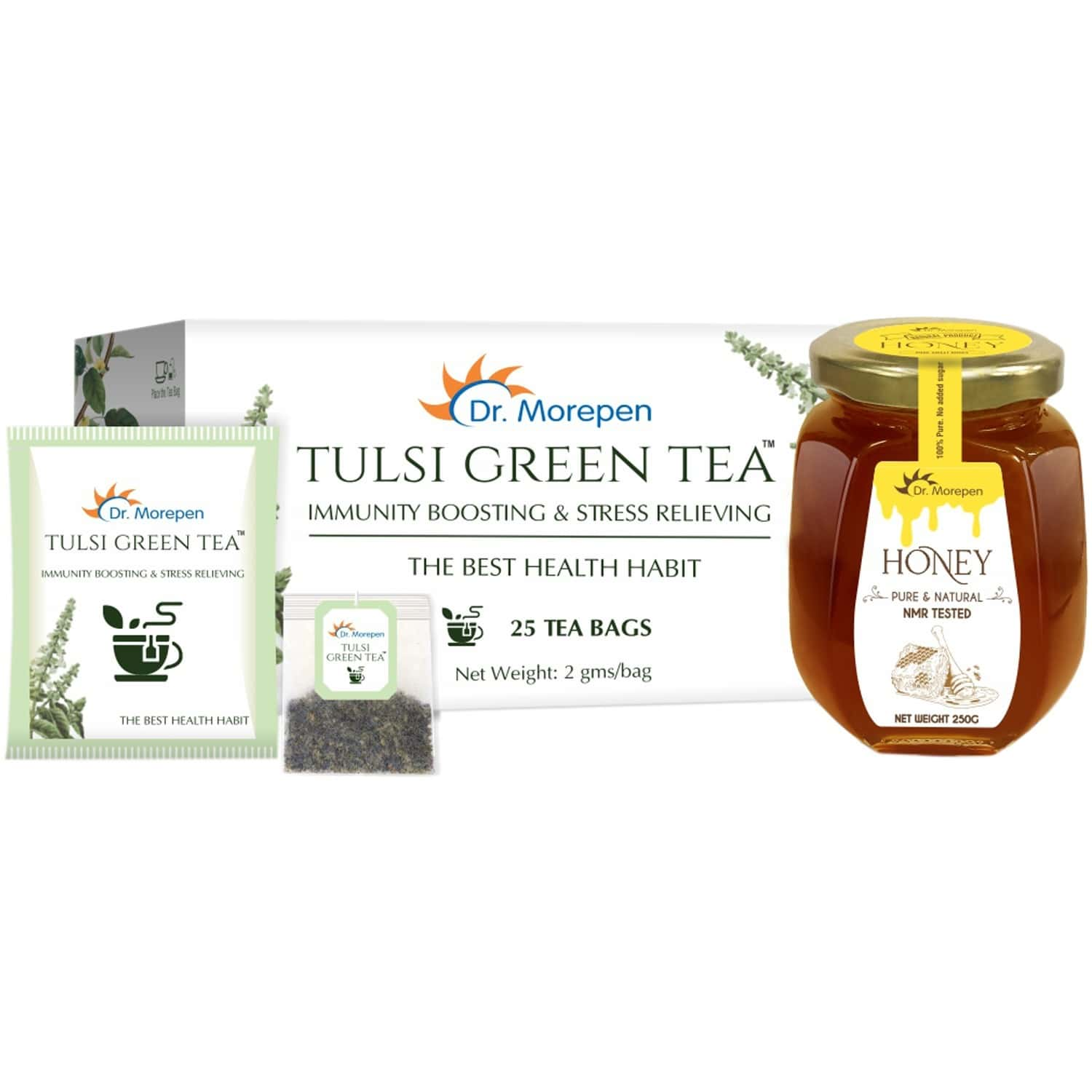 Dr. Morepen Natural & Pure Honey Nmr Tested - 250g & Tulsi Green Tea - 25 Bags   Immunity Booster Kit