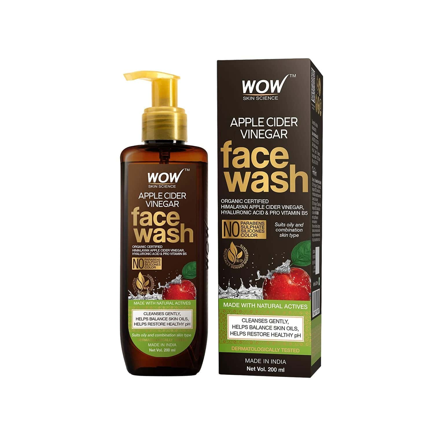 Wow Skin Science Apple Cider Vinegar Face Wash - 200 Ml