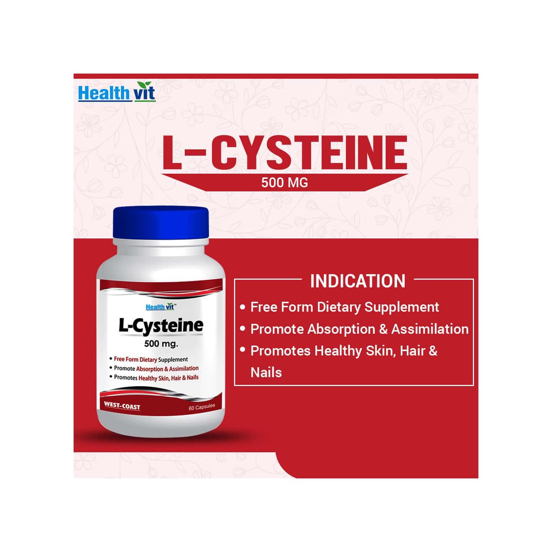 Healthvit L-cysteine - 500 Mg -60 Capsules
