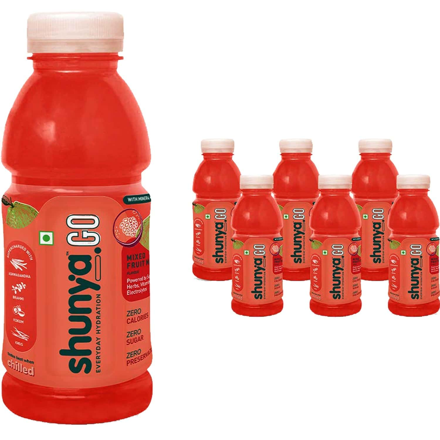 Shunya Go Zappy Mixed Fruit Mania | Active Hydration Drink With 0 Calories, 0 Sugar, 0 Preservatives Pack Of 6 (300ml X 6)