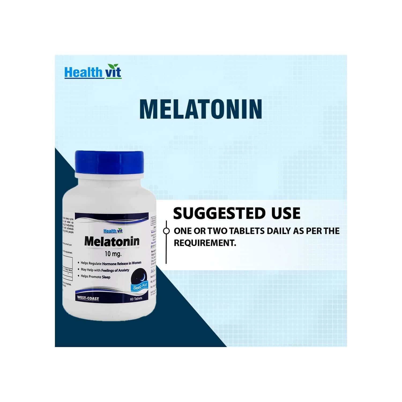 Healthvit Melatonin 10mg Regulates For Sleep Cycle -60 Tablets