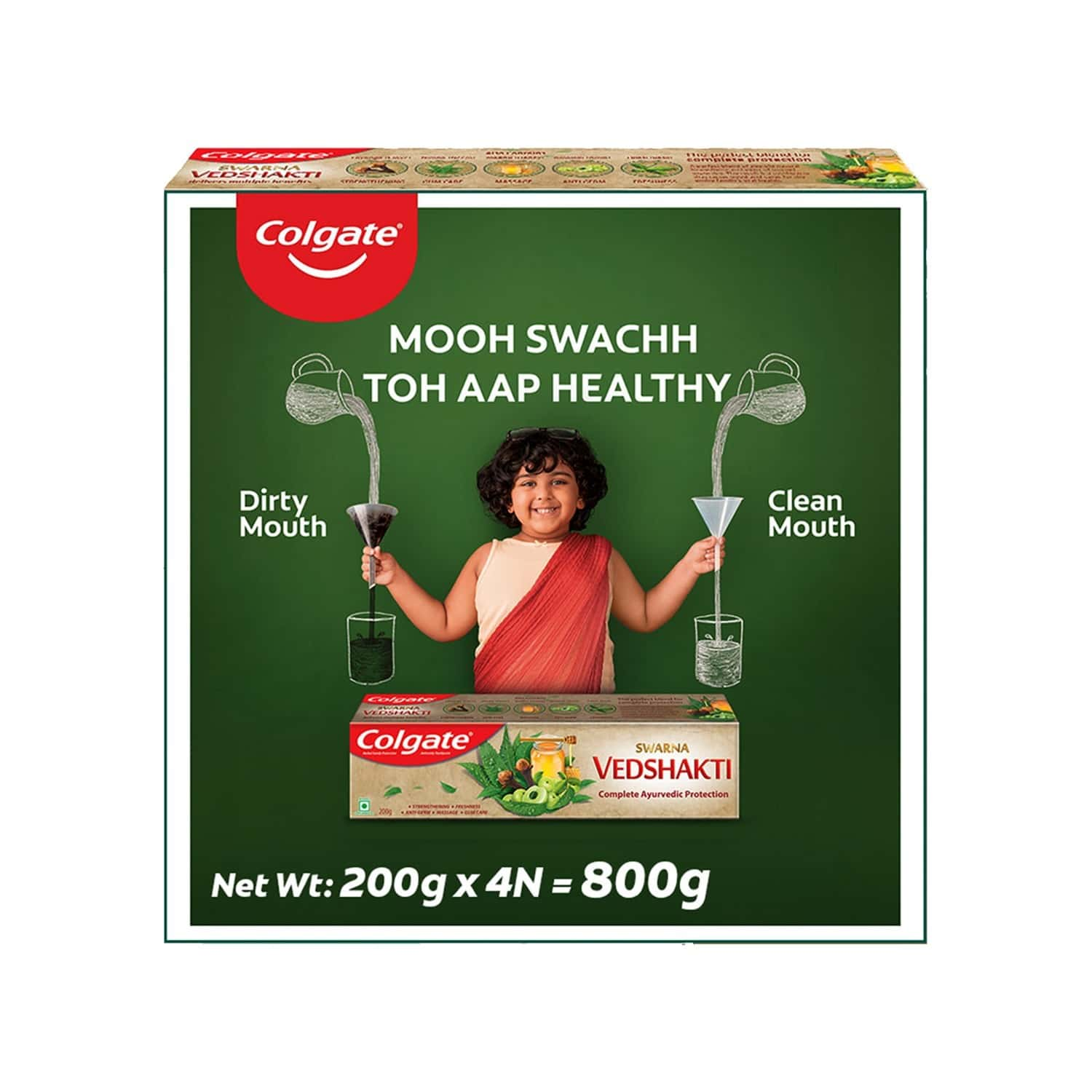 Colgate Swarna Vedshakti Ayurvedic Toothpaste, Anti-bacterial Paste For Whole Mouth Health, With Neem, Clove, And Honey, 200g X 4 (saver Pack) - 800g