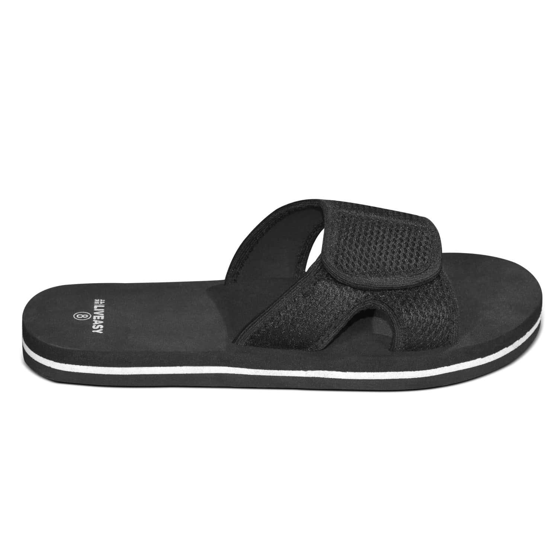 Liveasy Essentials Men's Diabetic & Orthopedic Velcro Slippers - Black - Size Uk 9
