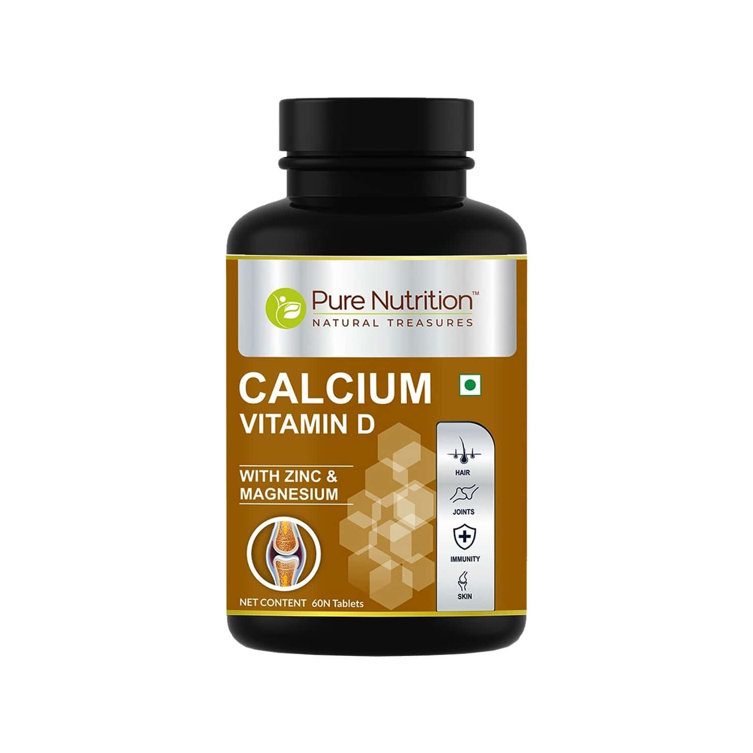 Pure Nutrition Calcium Plus Vitamin D With Magnesium & Zinc - Calcium With D2 - Supports Strong Bones And Immune Health - 60 Tablets