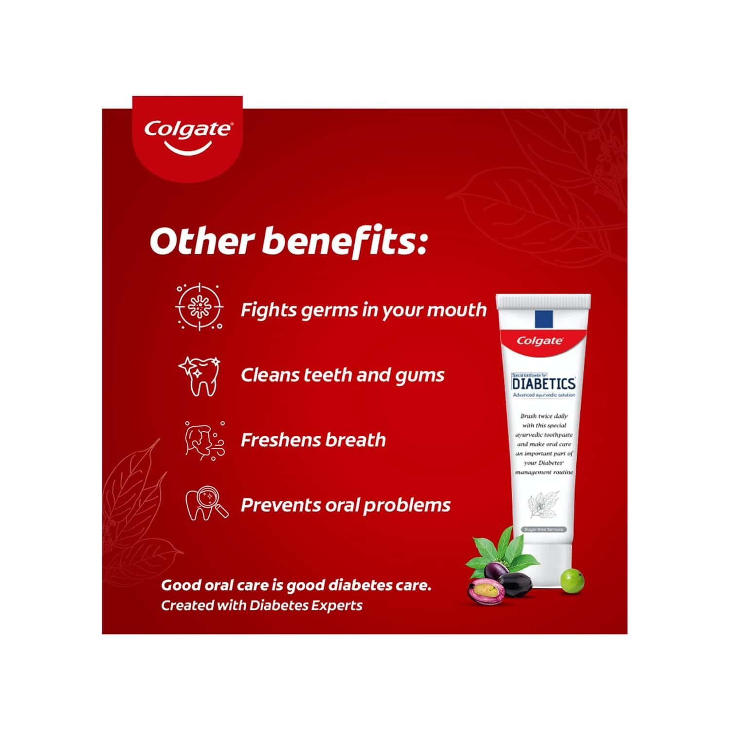 Colgate Diabetics : Special Toothpaste For Diabetics, With Madhunashini And Jamun Seed Extracts (sugar-free Toothpaste), 70g