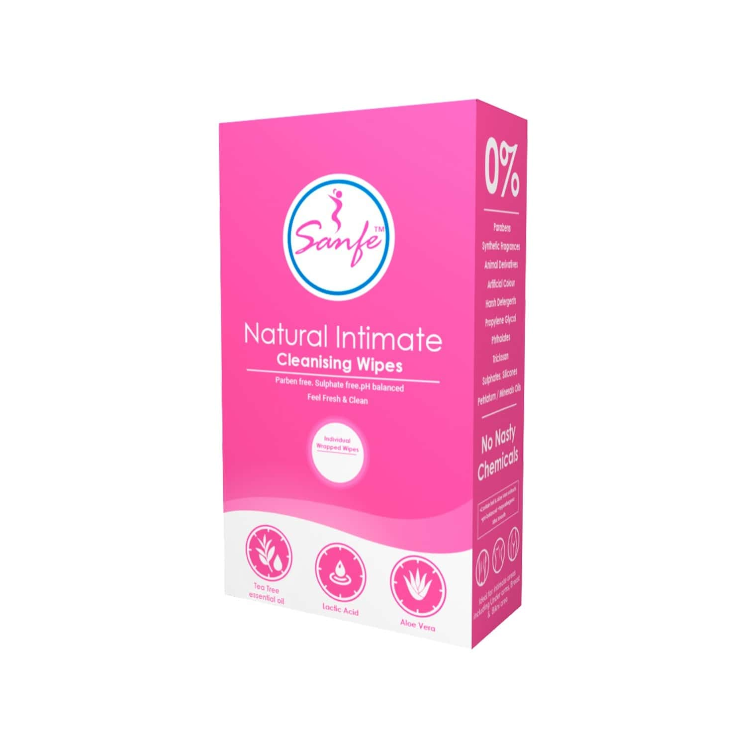 Sanfe Natural Intimate Wipes - 40 Count | 40 Individually Wrapped Wipes |ph Balanced With Tea Tree Essential Oil And Alovera Extracts
