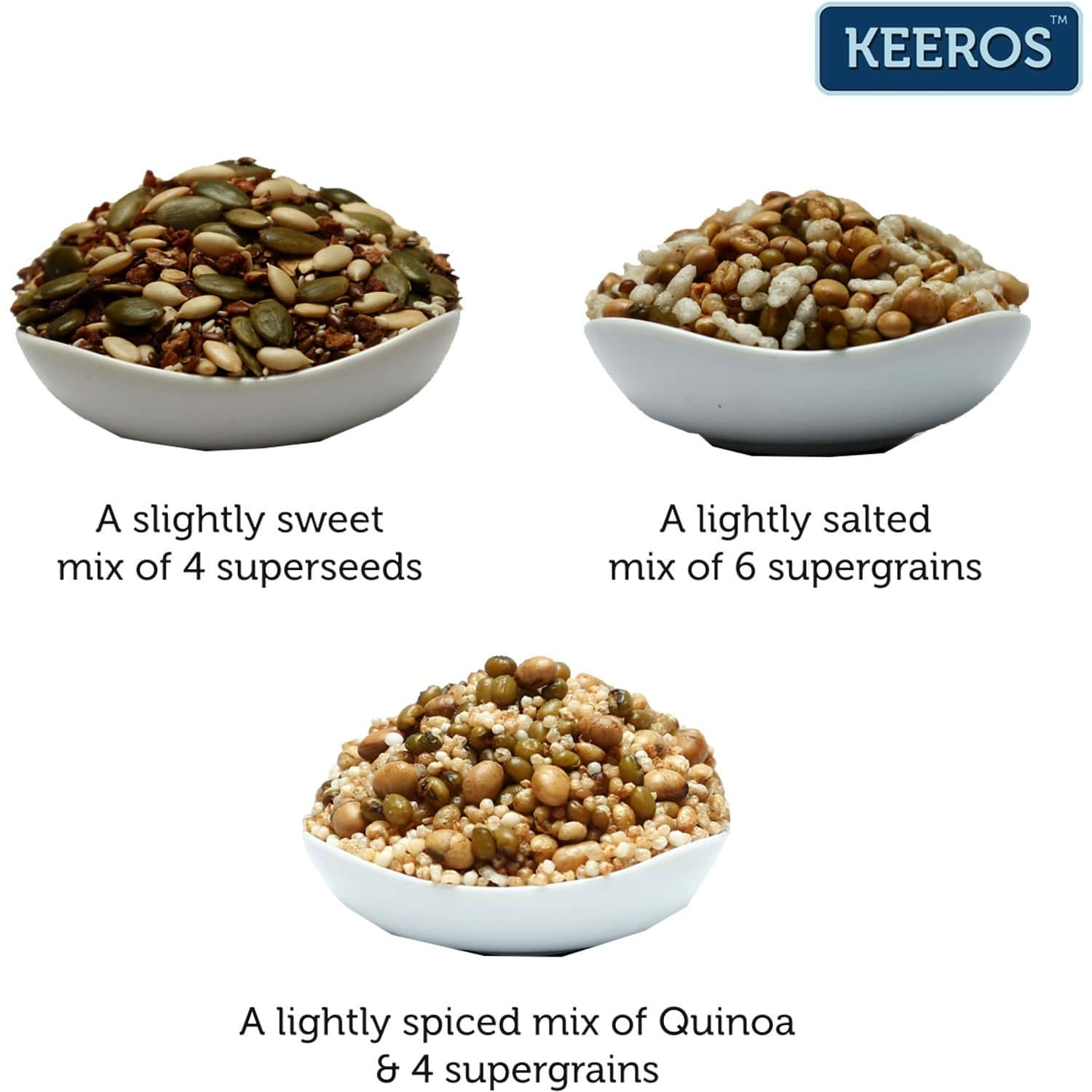 Keeros Healthy Roasted Super Snack - Combo Pack Of Multigrain, Multi Seeds Mix & Quinoa Grain Snack (sugar Free, Gluten Free, Protein Rich, Ready To Eat Snacks), Combo Of 3 (2x250g+200g)
