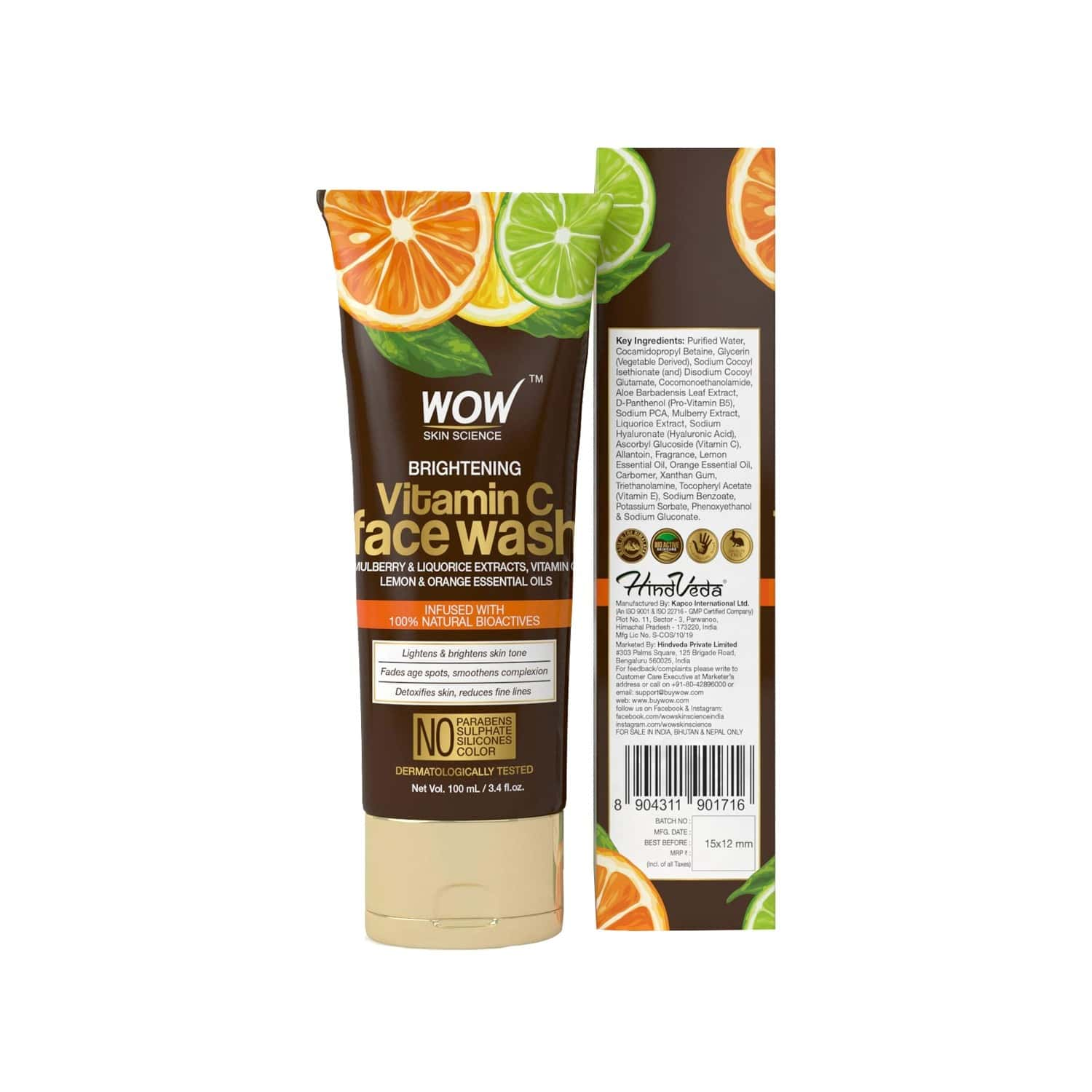 Wow Skin Science Vitamin C Face Wash Tube - 100 Ml
