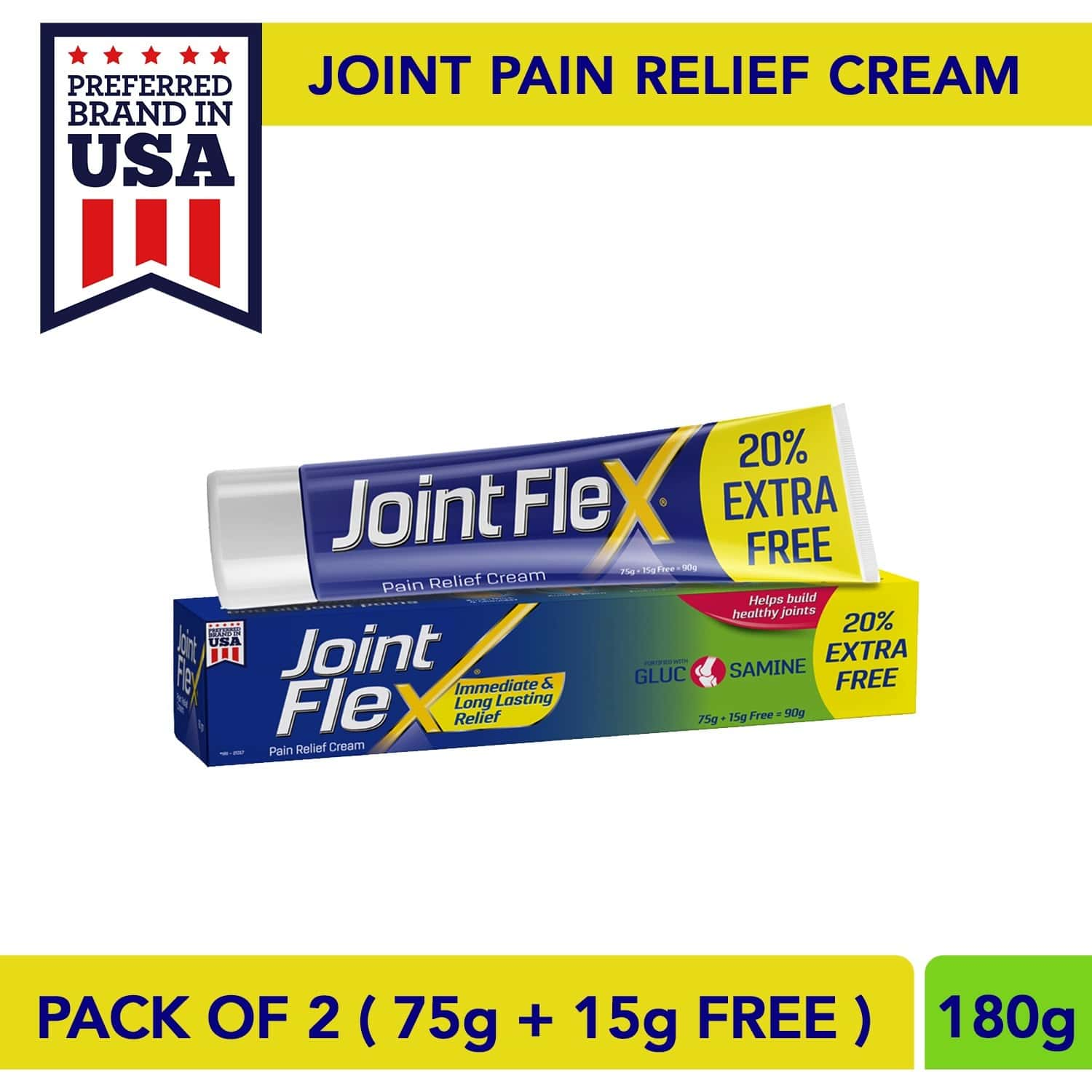Jointflex Pain Relief Cream, 90g (75g + 15g Free) (pack Of 2) - Immediate & Long-lasting Pain Relief And Healthy Joints
