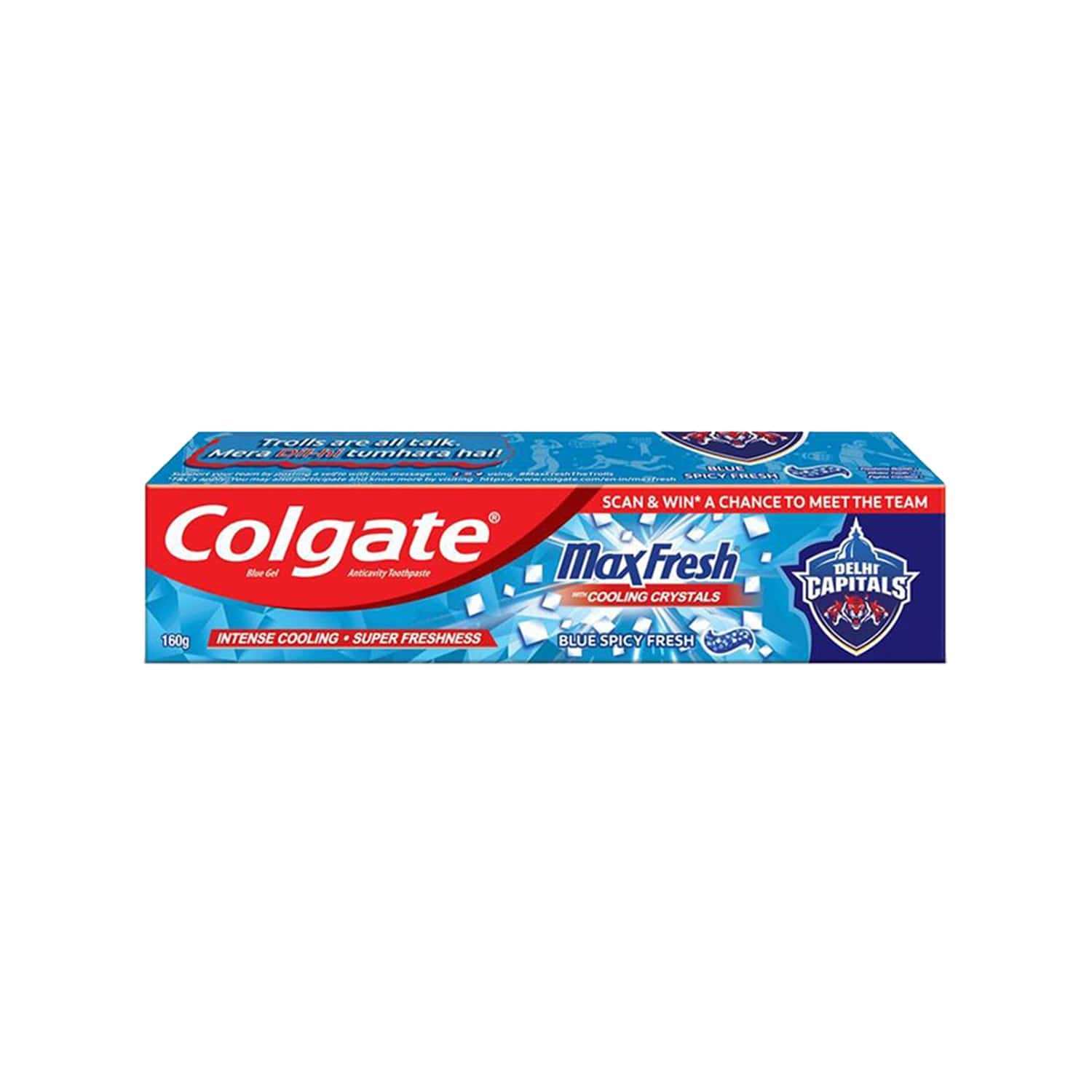 Colgate Maxfresh Blue Spicy Fresh Gel Toothpaste - 160 Gm - Delhi Capitals Special Edition Pack