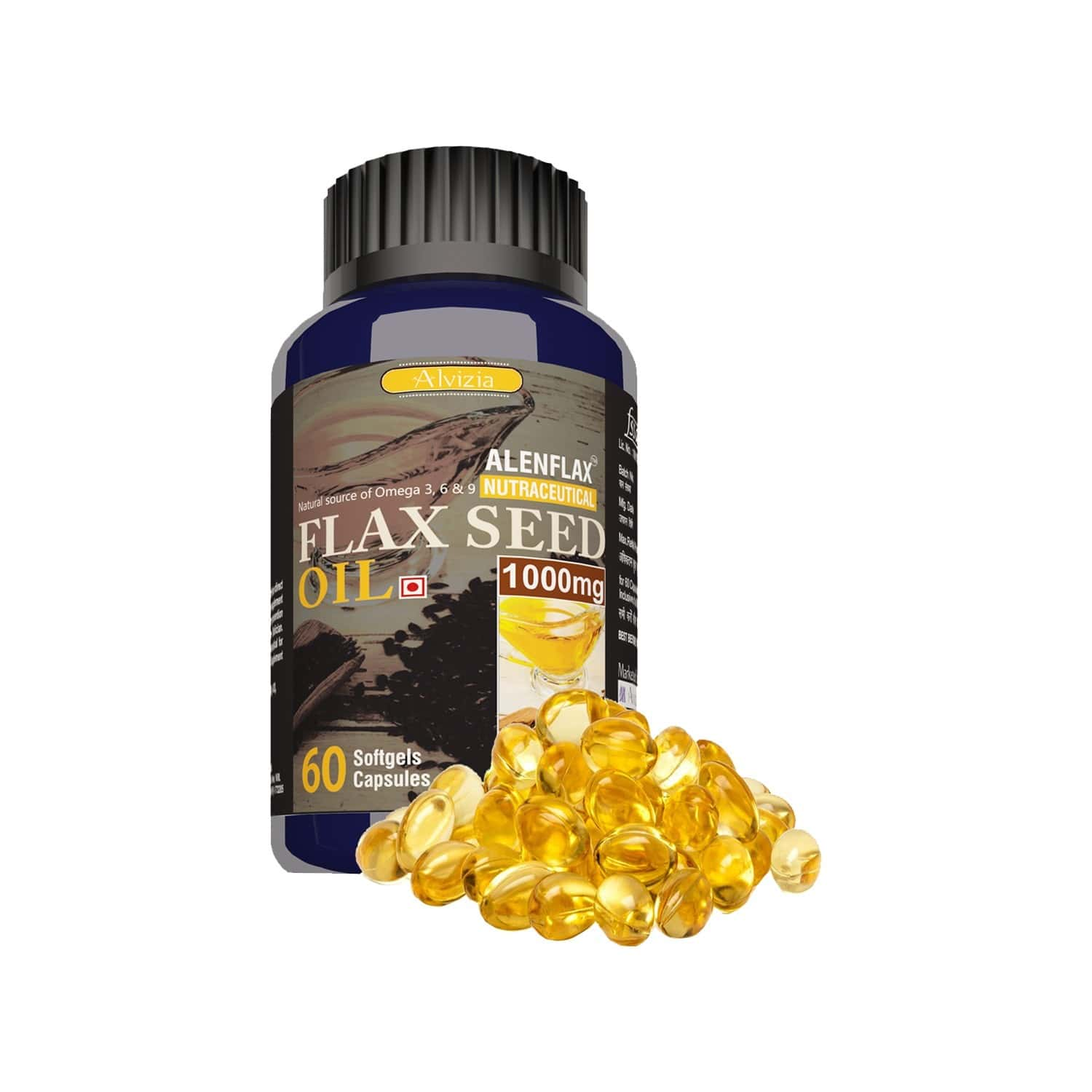 Alvizia Alenflax Cold Pressed Flaxseed Oil 1000 Mg Capsules Bottle Of 60