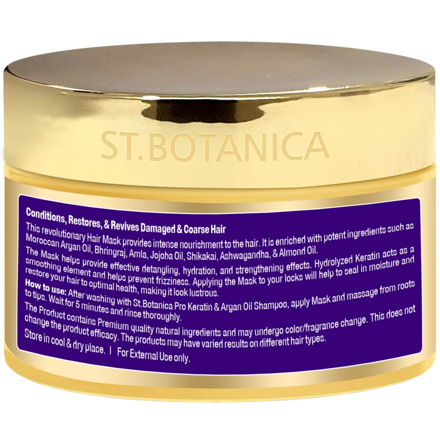 St.botanica Pro Keratin & Argan Oil Hair Mask - 200 Ml - Intensive Conditioning For Dry, Damaged, Color Treated Hair