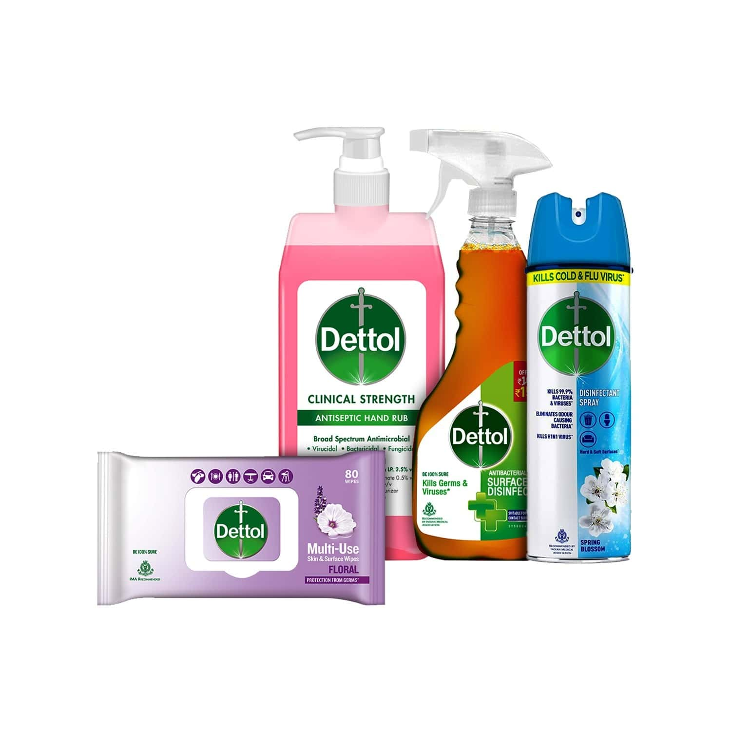 Dettol Combikit(clinical Strength Hand Sanitizer - 500ml, Floral Skin & Surface Wipes -80, Spring Blossom Surface Disinfectant Spray - 225ml, Surface Disinfectant Spray Sanitizer -500ml)