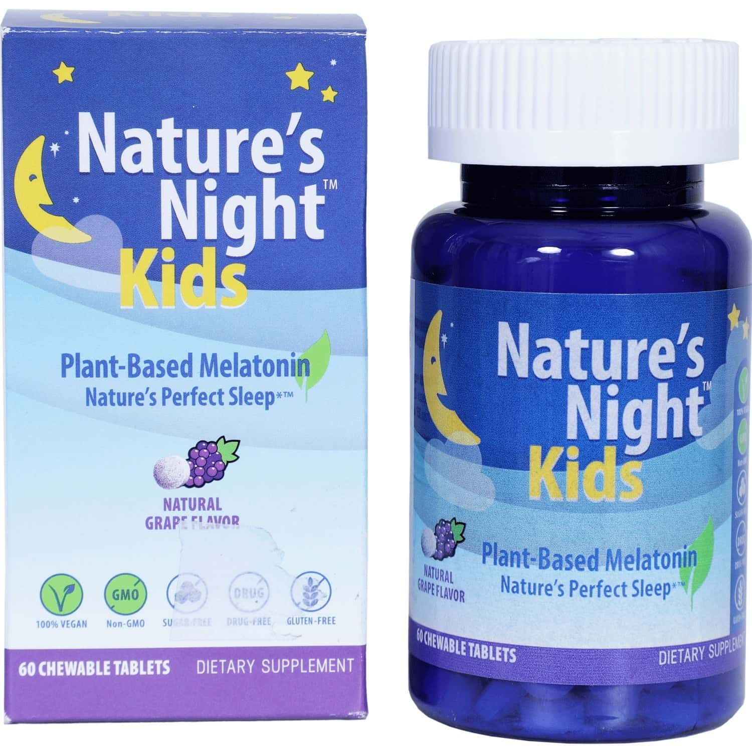 Nature's Night (kids) For Better & Sleep Stress Relief (natural Grape Flavour) -1x 60 Lozenges