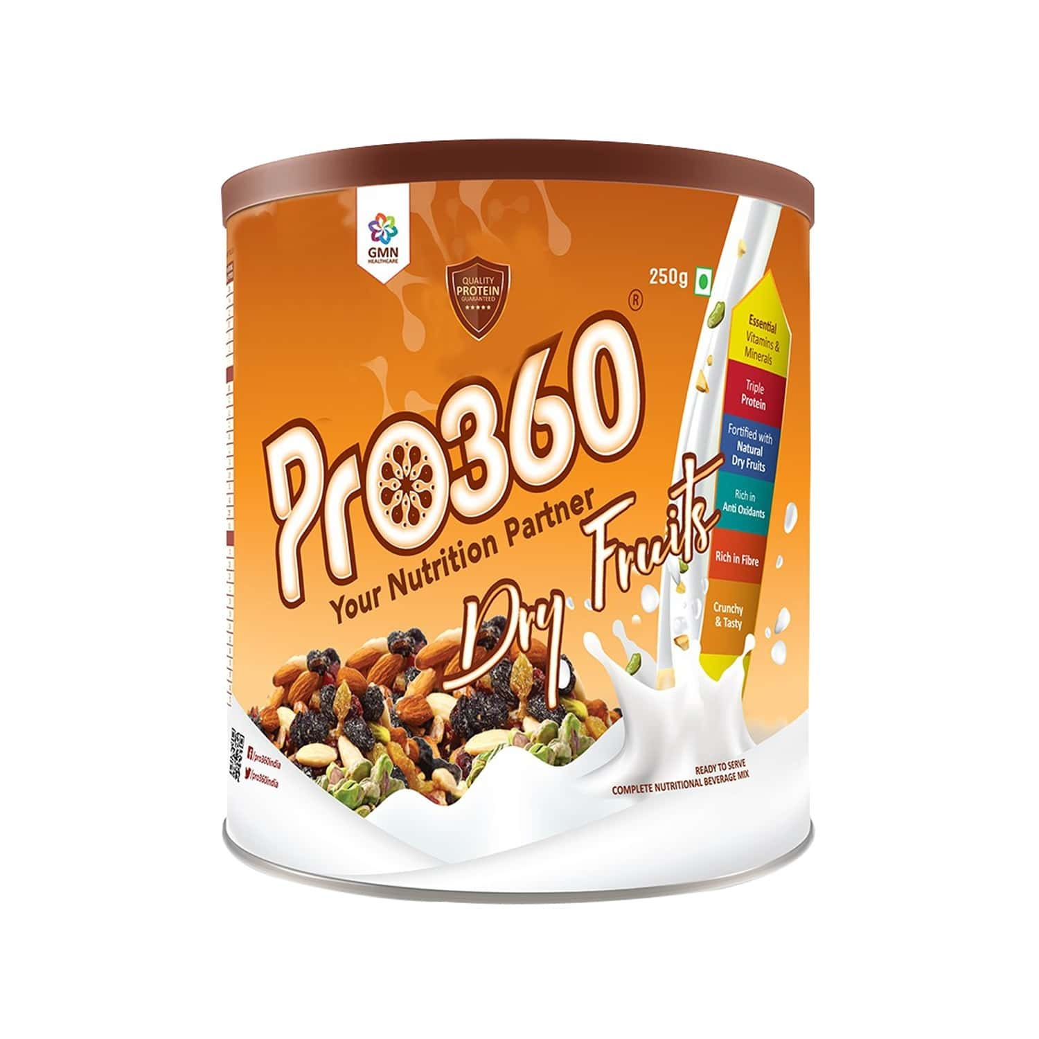 Pro360 Dry Fruits Nutrition Drink Tin Of 250 G