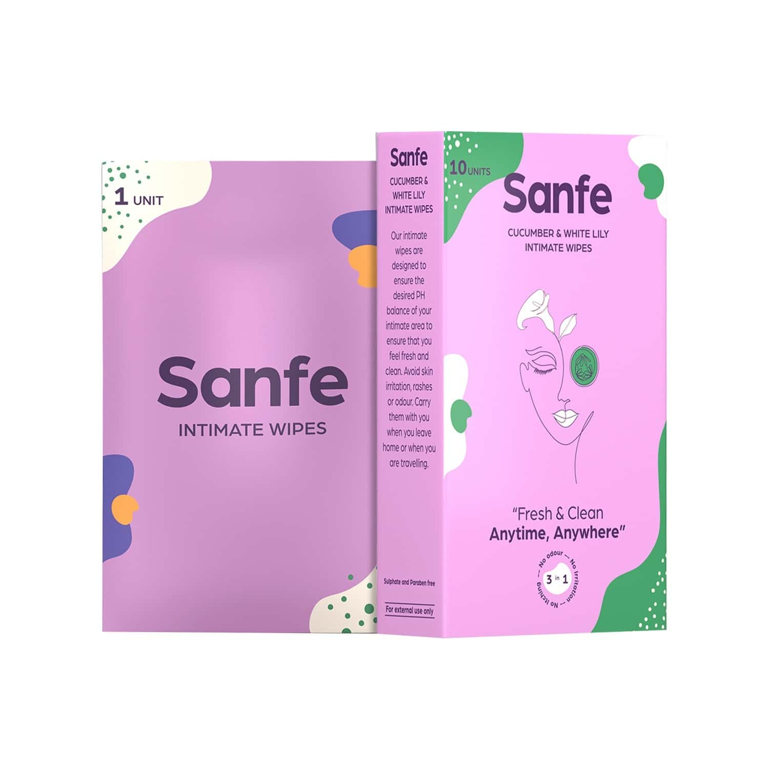 Sanfe Natural Cucumber & White Lily Intimate Wipes (pack Of 10 Wipes X 2) Box Of 20