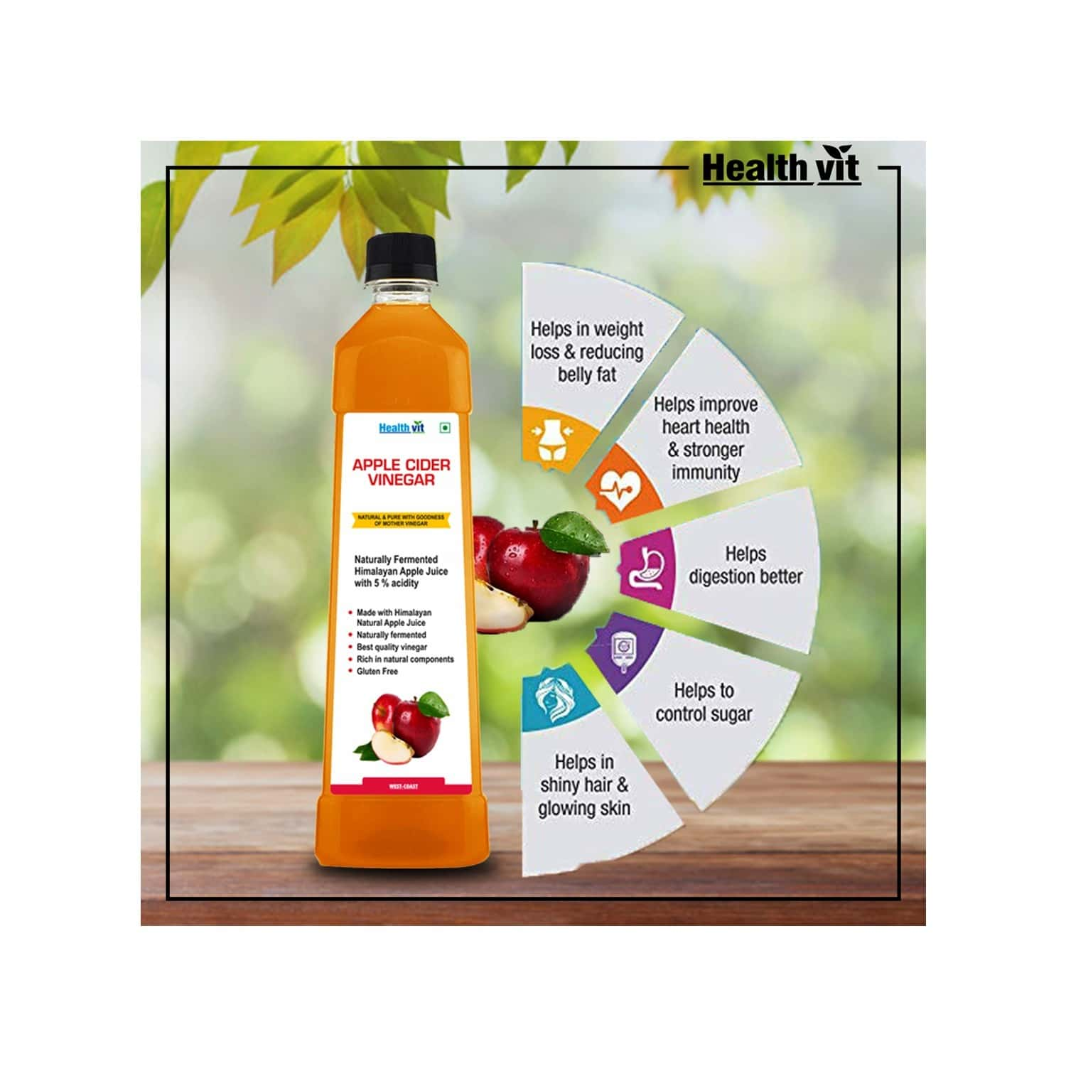 Healthvit Apple Cider Vinegar Natural & Pure With Strand Of Mother - Not From Concentrate 750ml