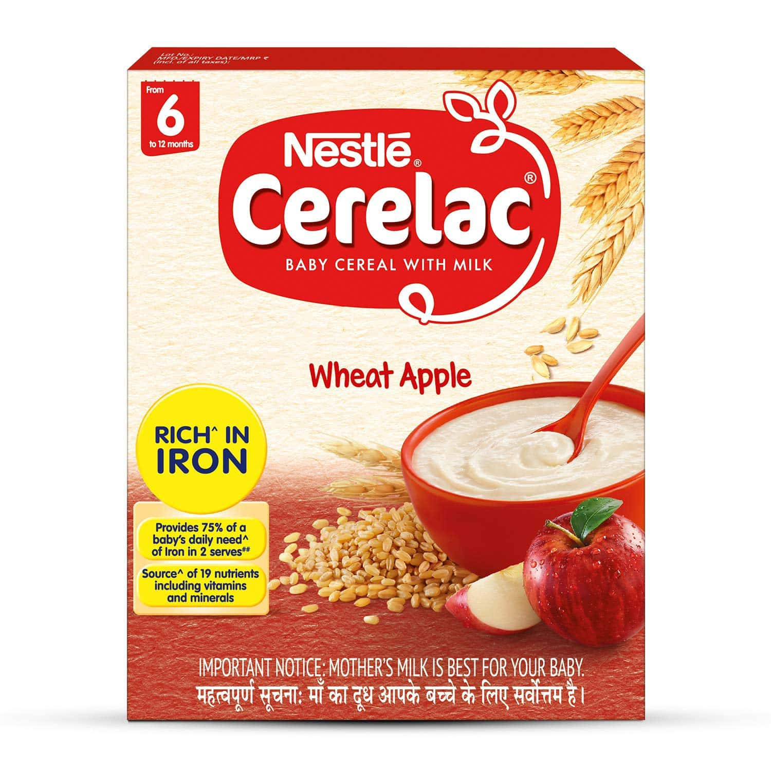 Nestle Cerelac Baby Cereal With Milk Wheat Apple Baby Food (from 6 Months) Box Of 300 G