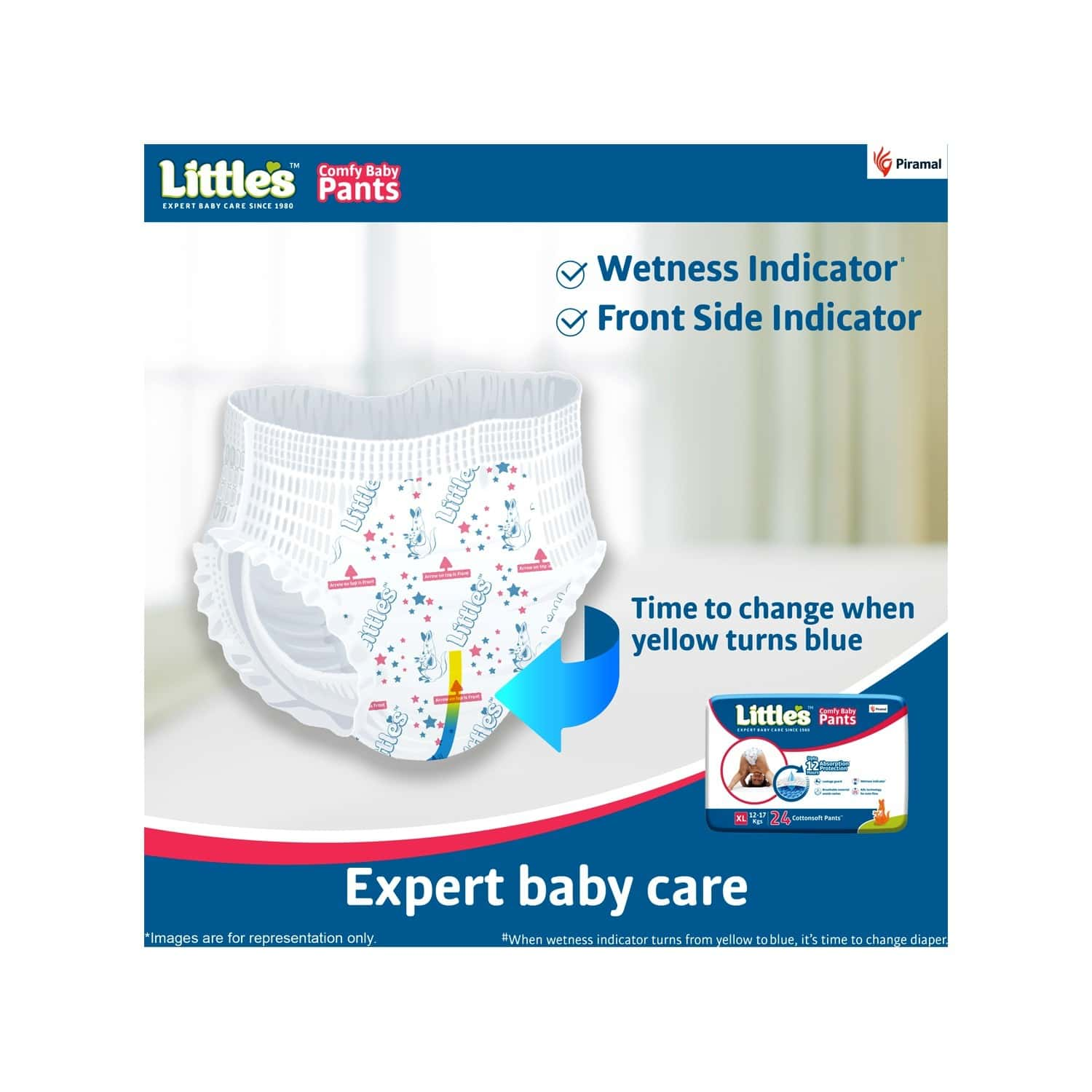 Little's Comfy Baby Pants Diapers With Wetness Indicator And 12 Hours Absorption - Extra Large 24 Pants