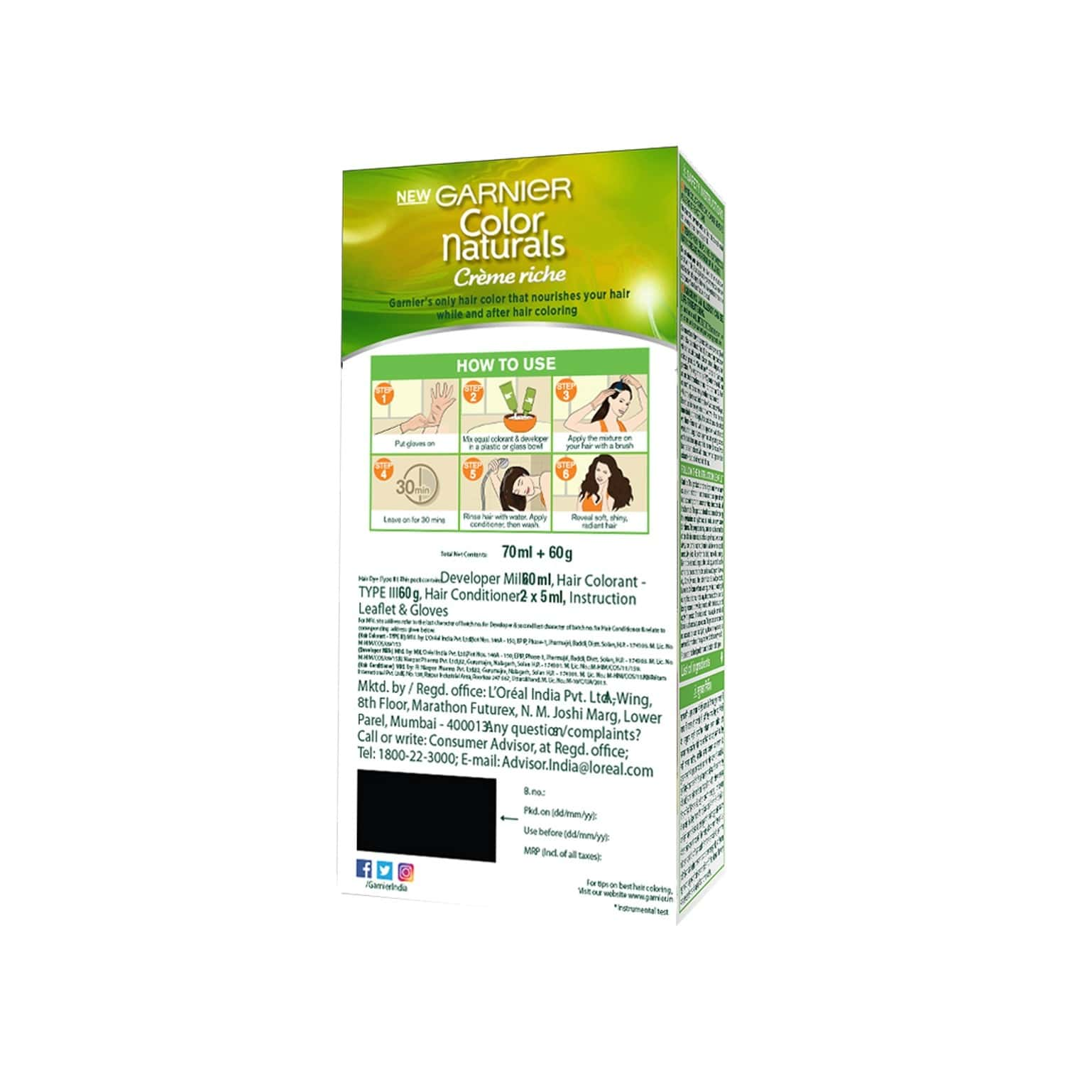 Garnier Color Naturals CrÈme Shade 4 Brown (70ml + 60g) Hair Color Box Of 130 Ml