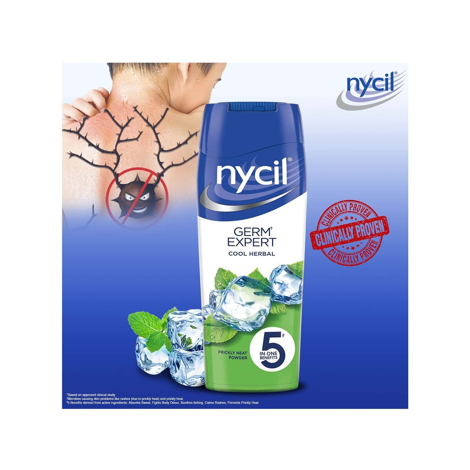 Nycil Cool Herbal With Neem & Pudina Prickly Heat Powder Bottle Of 400 G