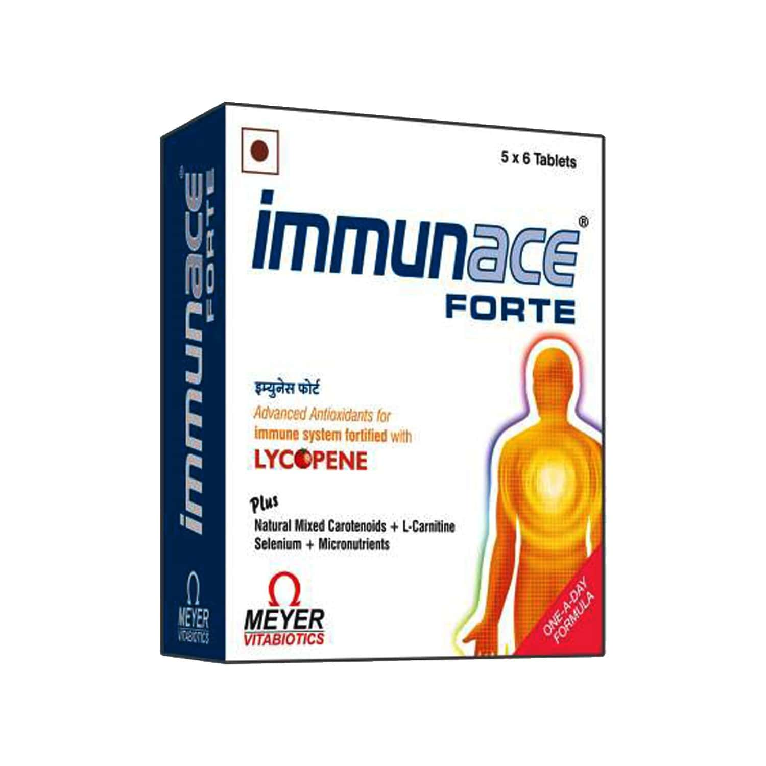 Immunace Forte - Health Supplements (with Vitamin C, Zinc And Selemium) With Wellman 30 Tablet Free