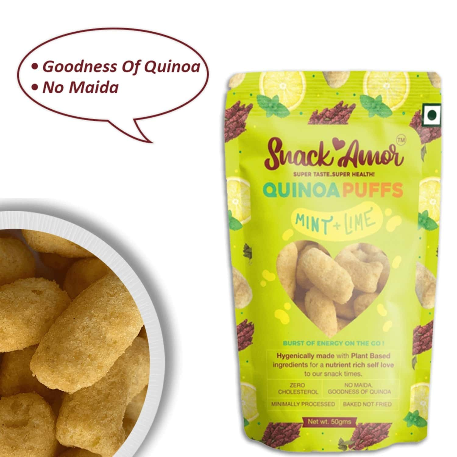 Snack Amor Quinoa Puffs - Mint N Lime- Nutritional Snacks- Pack Of 1x 50g