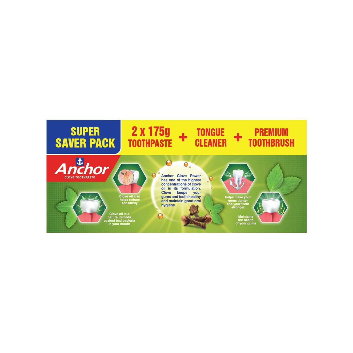 Anchor Clove Toothpaste Power Saver Pack - 175gm X 2