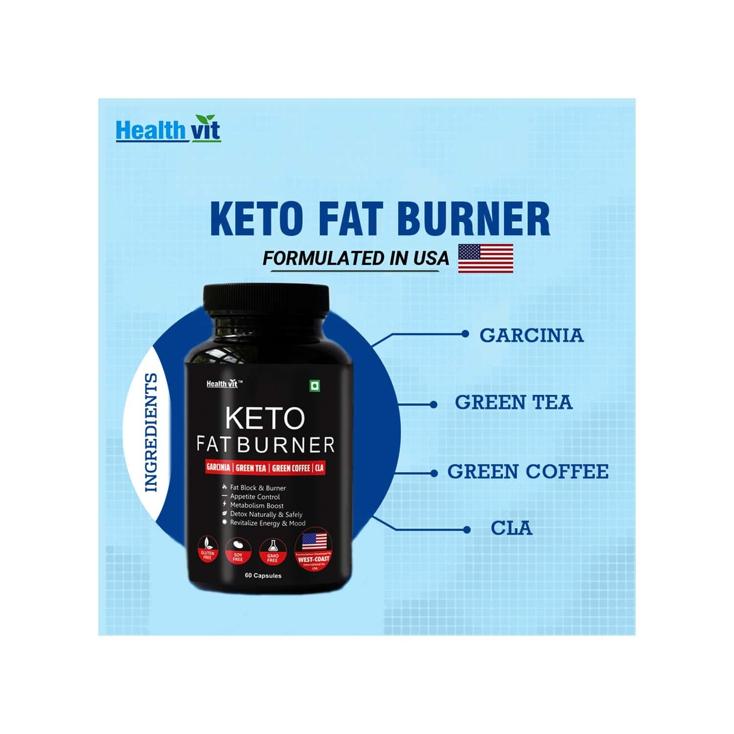 Healthvit Keto Fat Burner Formulated In Usa With Garcinia, Green Tea, Green Coffee, Cla -60 Capsules