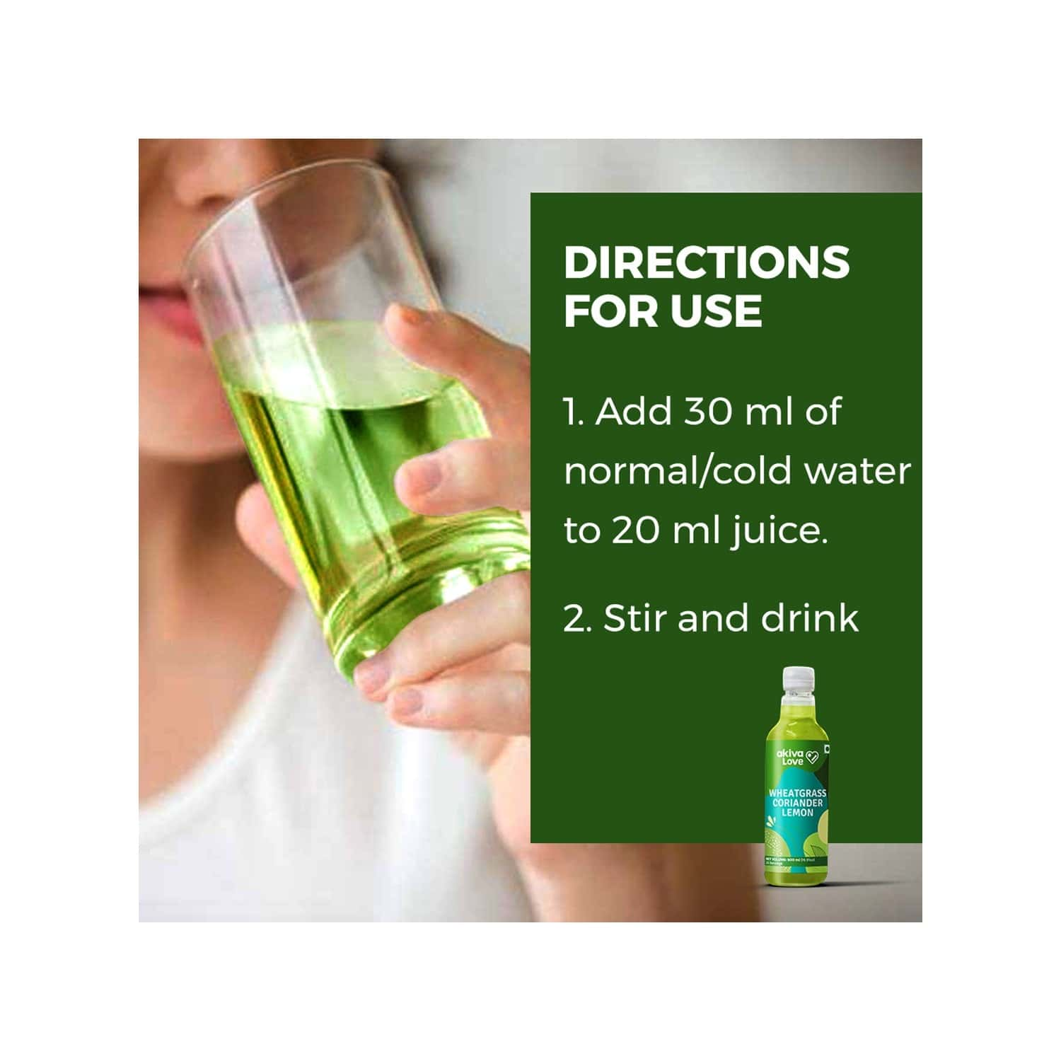 Akiva Love Wheatgrass Lemon Coriander Juice ( Concentrated ) For Blood Detox - 500ml