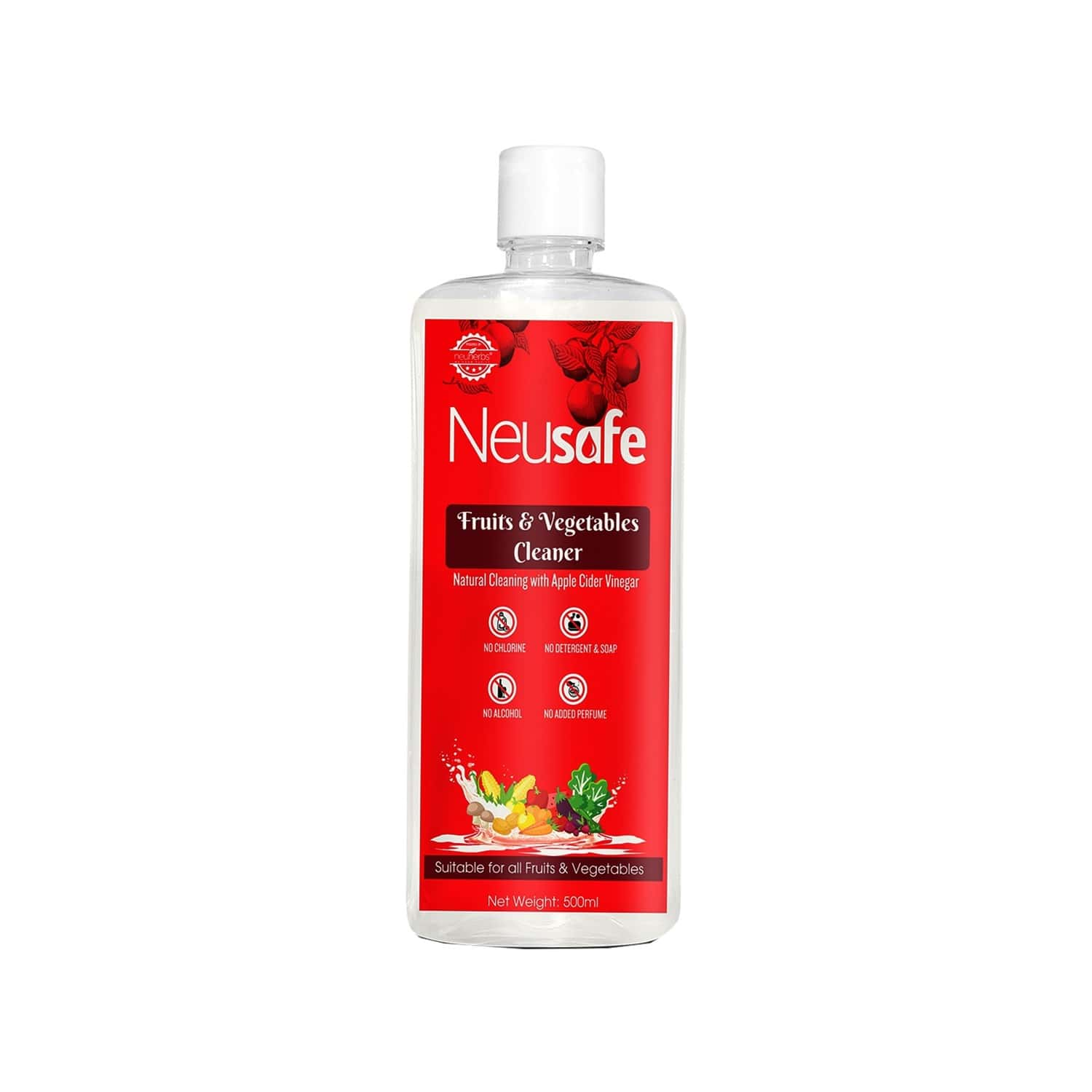 Neuherbs Neusafe Fruits And Vegetables Cleaner - 100% Naturally Washing Liquid, Removes Germs, Chemicals, Waxes, No Soap Added - 500ml