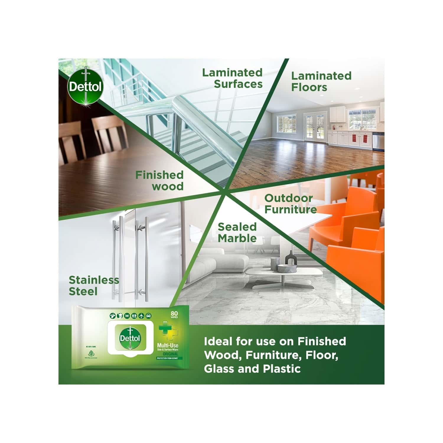 Dettol Disinfectant Skin & Surface Wipes, Original, Safe On Skin, Ideal To Clean Multiple Surfaces, Resealable Lock - Lid - 80 Count
