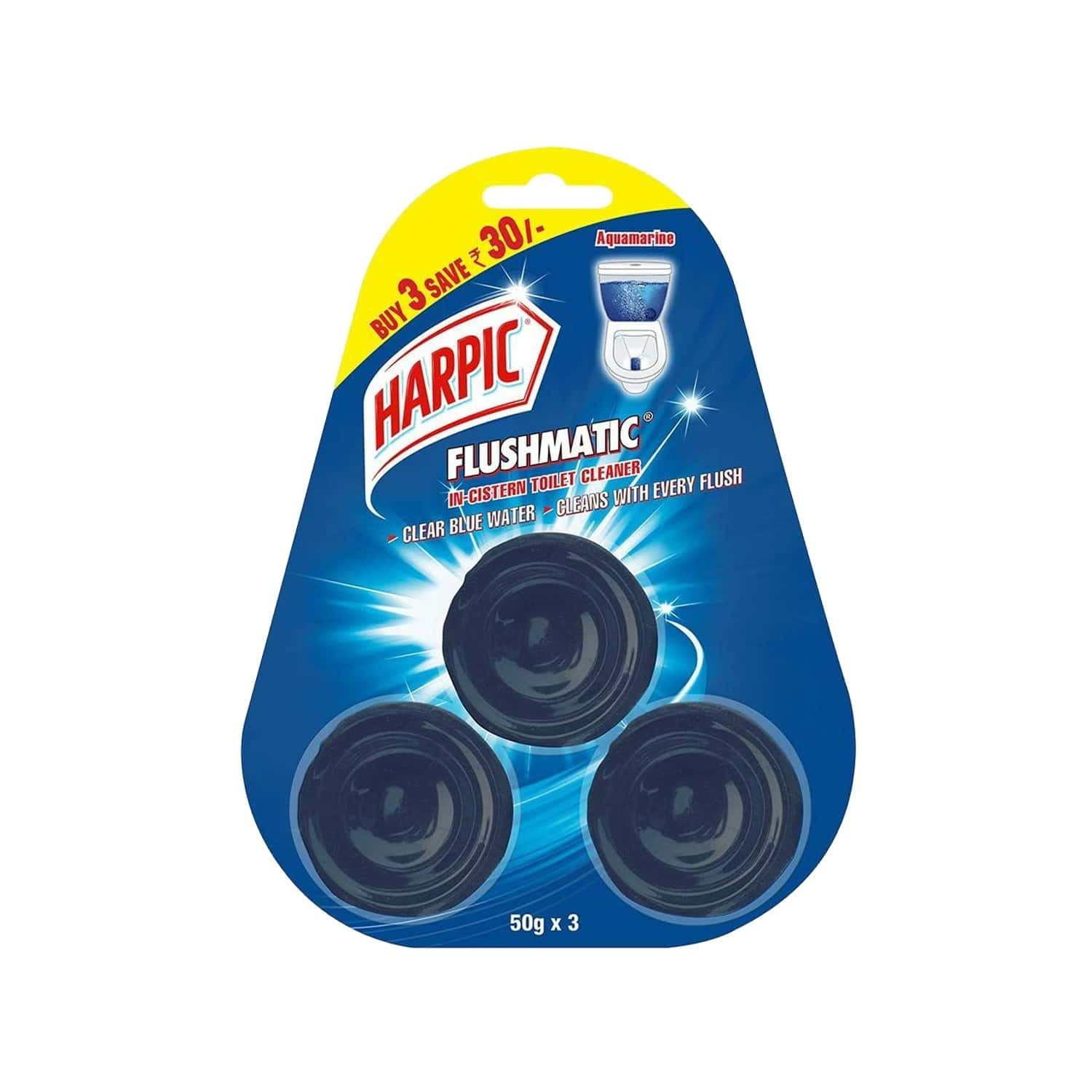 Harpic Flushmatic Aquamarine Toilet Block (pack Of 3) Packet Of 50 G